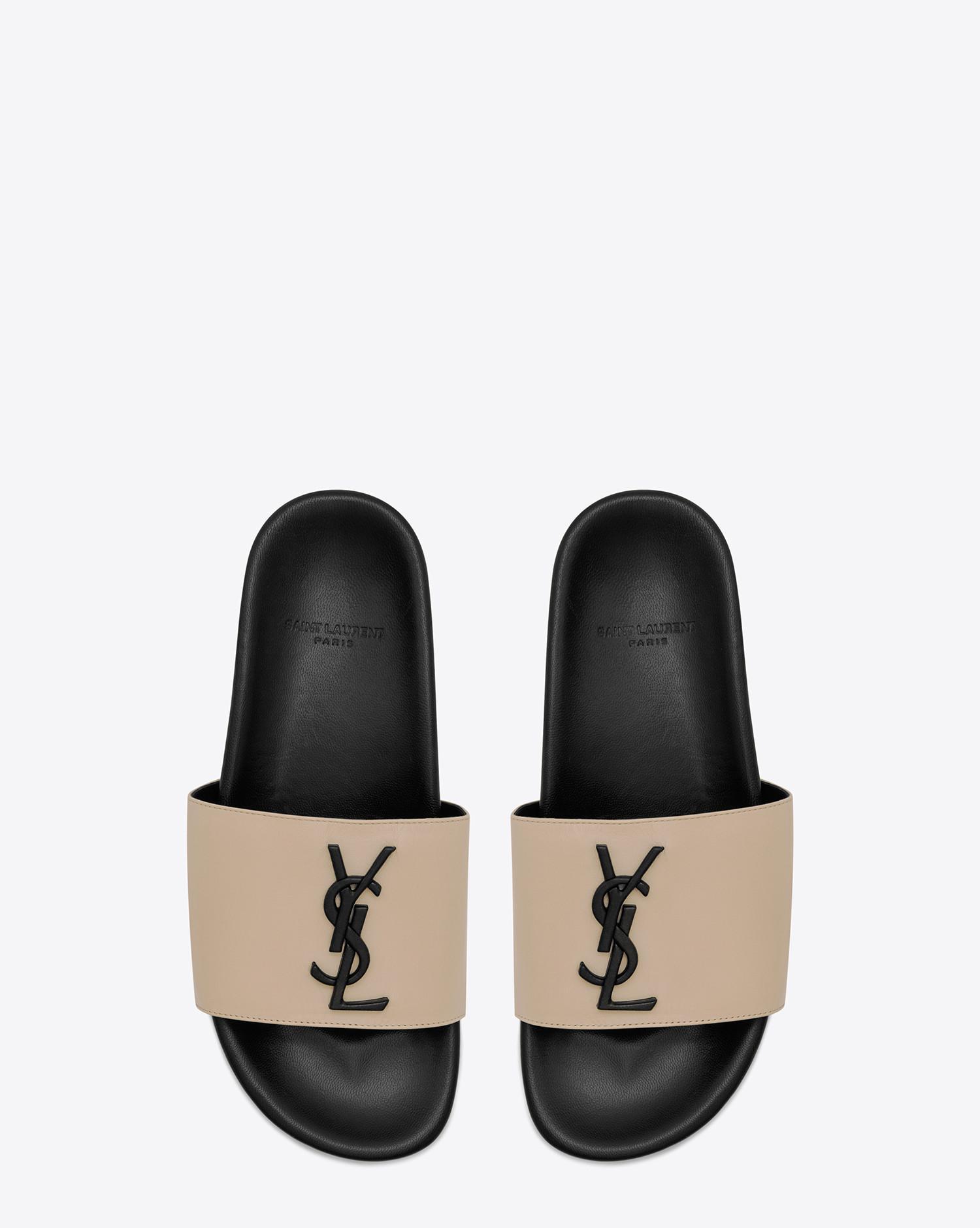 ab71b80e385 Lyst - Saint Laurent Joan 05 Slide Sandal In Powder And Black Leather