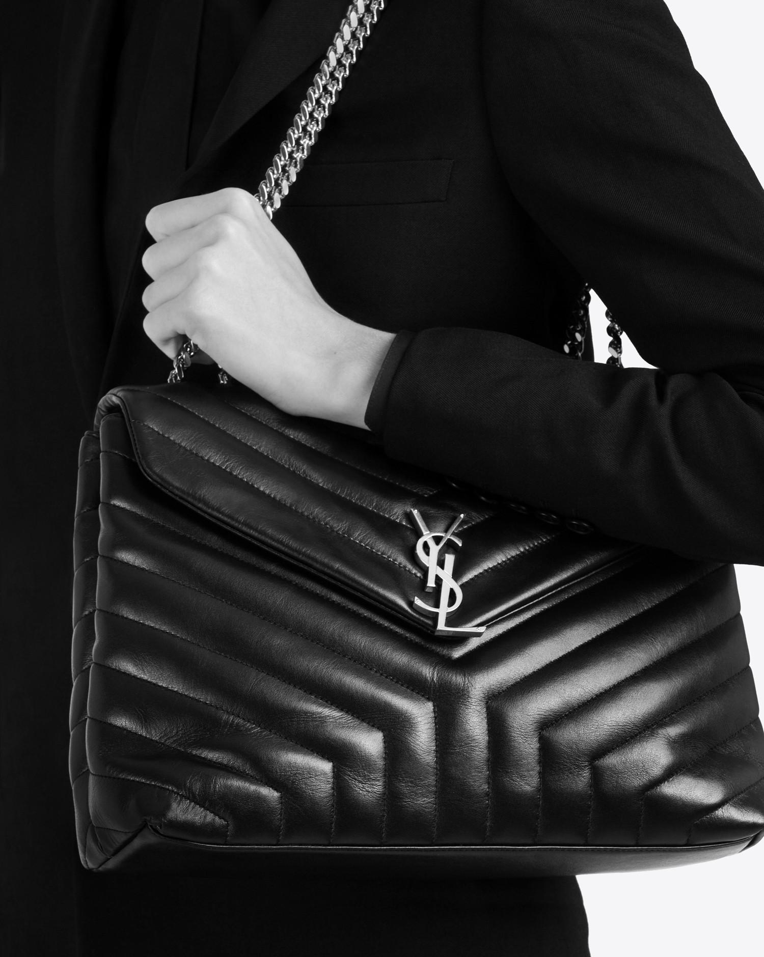 ebc6fd50591 Saint Laurent Medium Loulou Chain Bag In Black