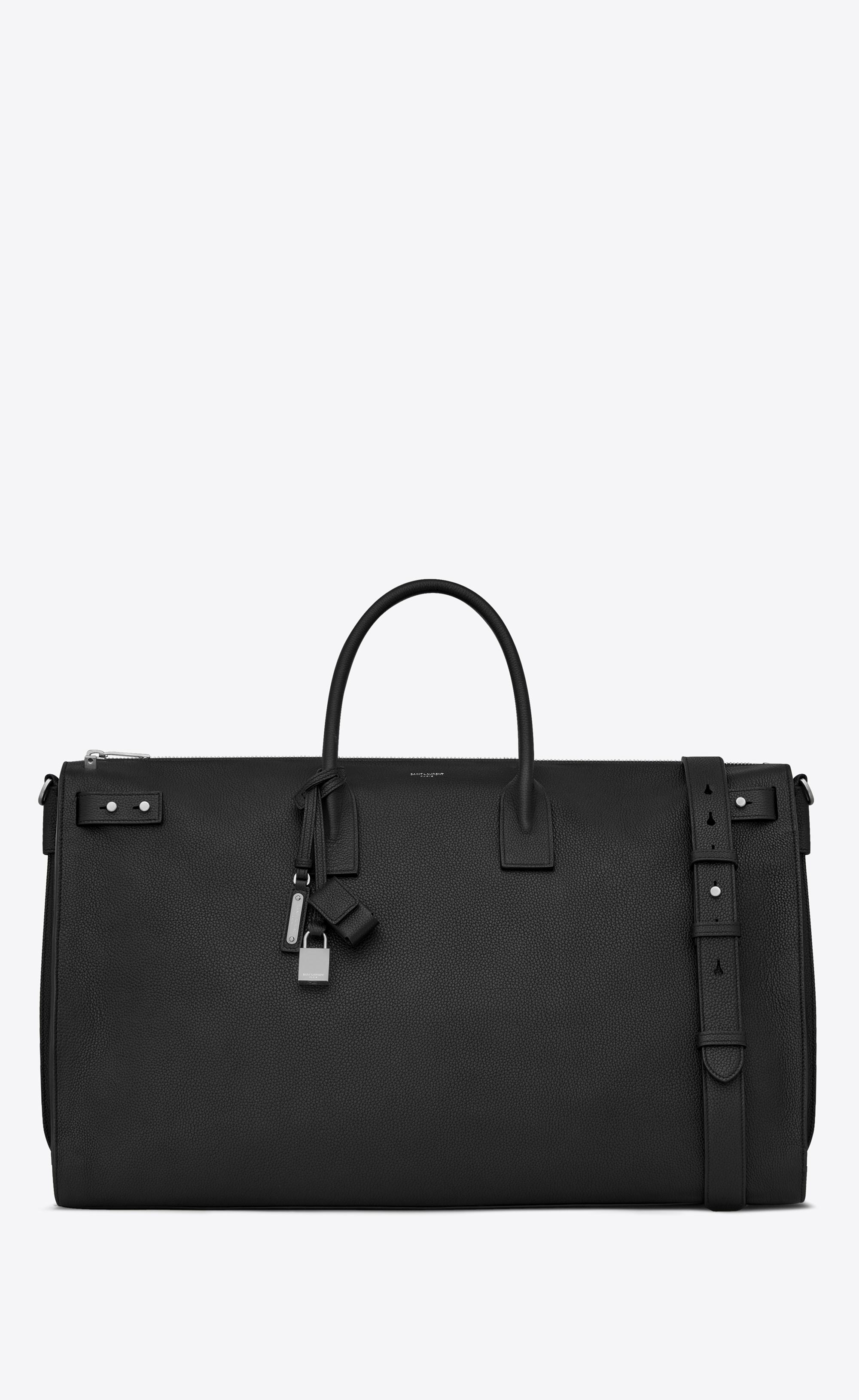 saint laurent sac de jour souple 72h duffle bag in black grained leather in black for men lyst. Black Bedroom Furniture Sets. Home Design Ideas