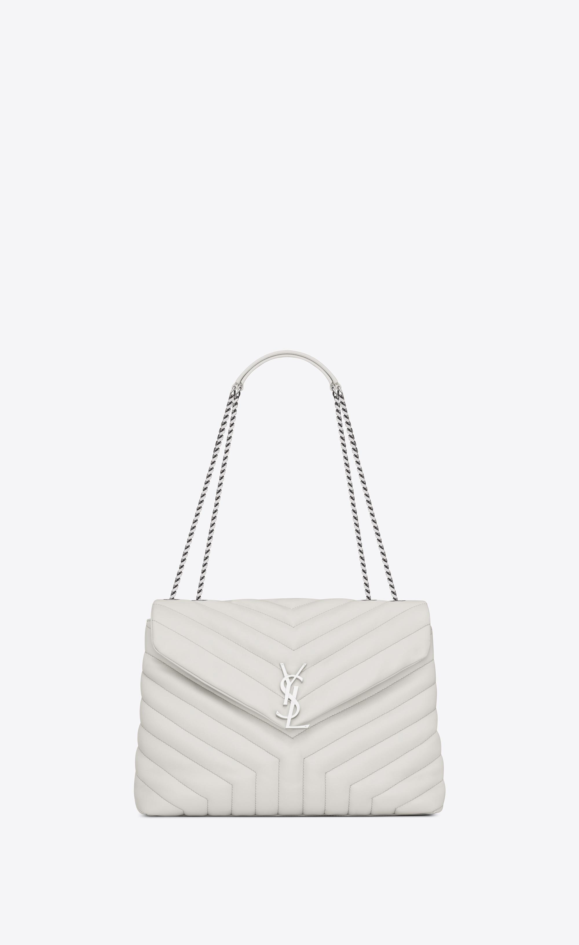 da00d5500 Saint Laurent Medium Loulou Chain Bag In Dove White