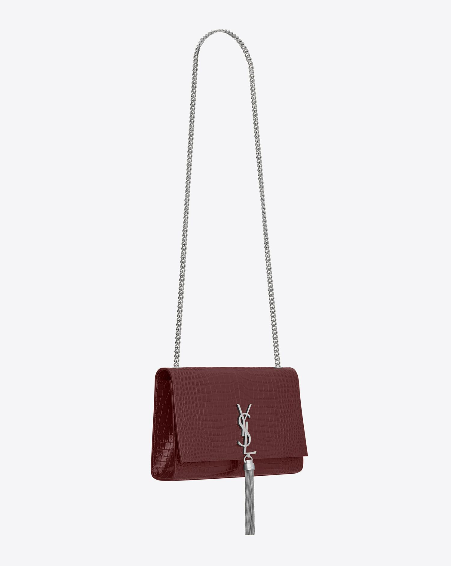 Saint Laurent. Women s Red Classic Medium Kate Monogram Croc-Embossed  Leather Shoulder Bag 3cb914ff86514