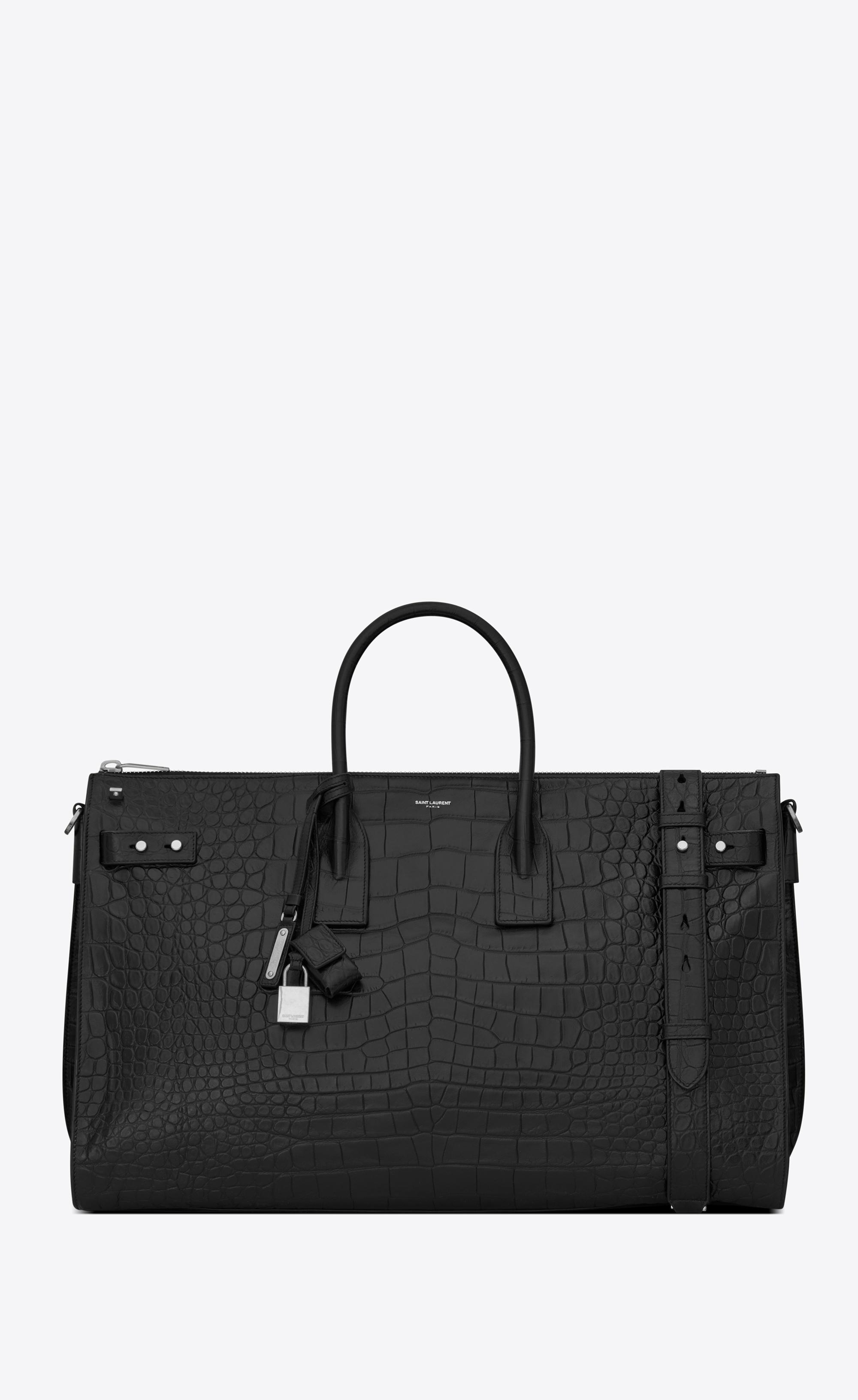 1c1e49e5b4b2 Saint Laurent - Black Sac De Jour 48-hour Duffle Bag In Embossed Crocodile  for