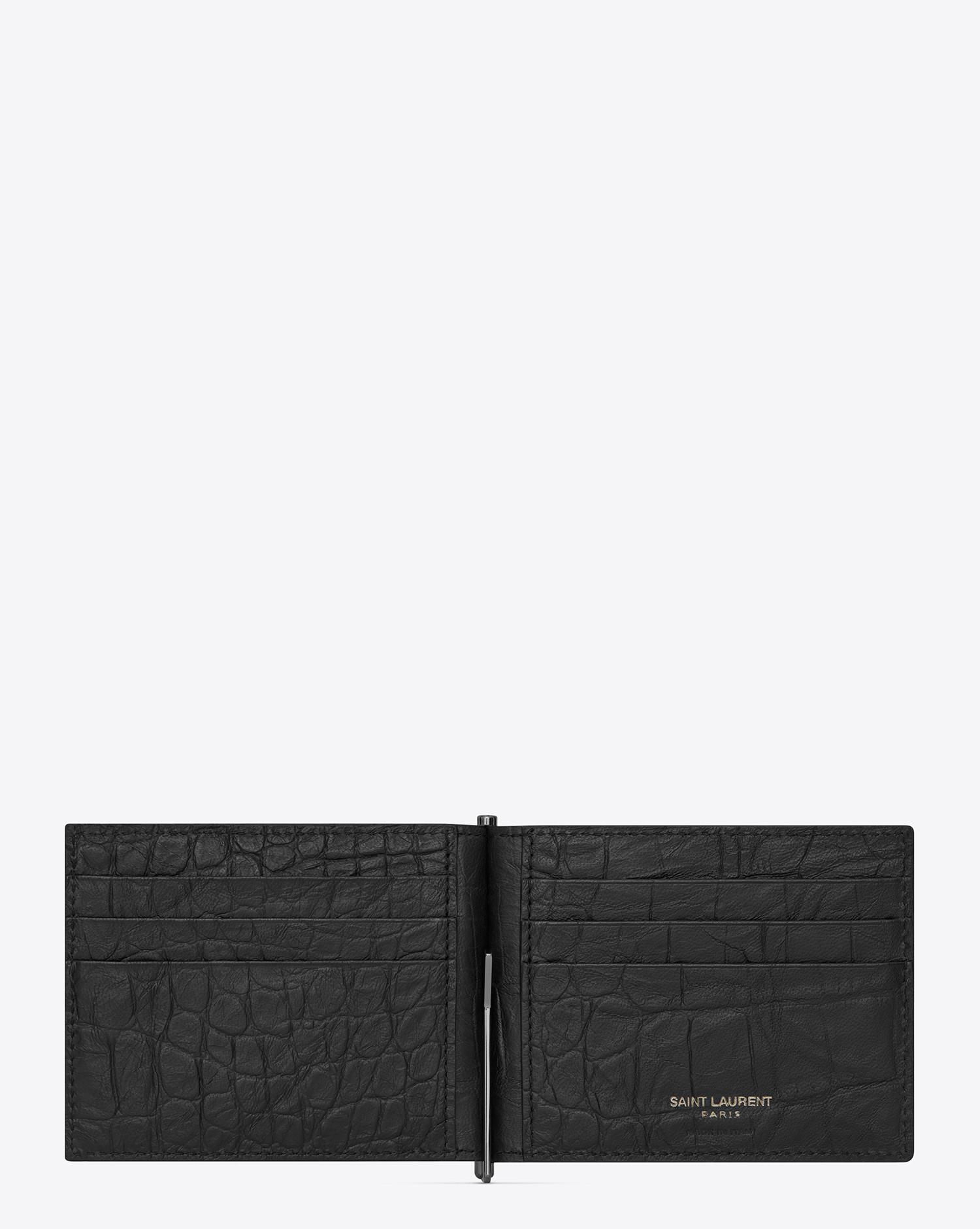 ac47171bdb Lyst - Saint Laurent Monogram Bill Clip Wallet In Crocodile Embossed Leather  in Black for Men