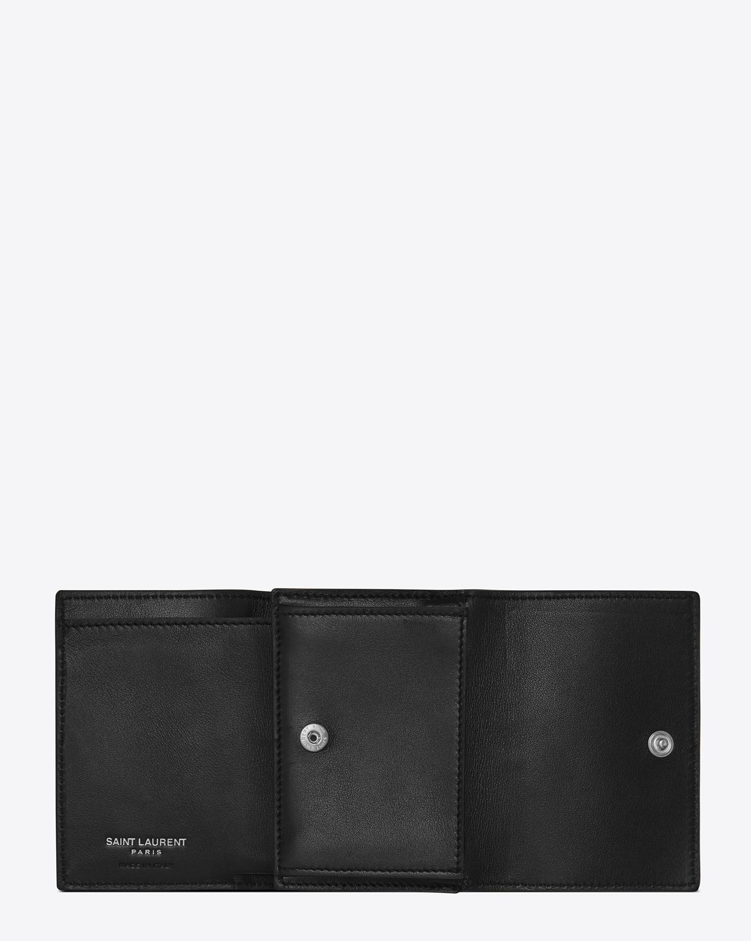 9ec62c9370a8e Lyst - Saint Laurent Id Tiny Wallet In Smooth Leather in Black for Men