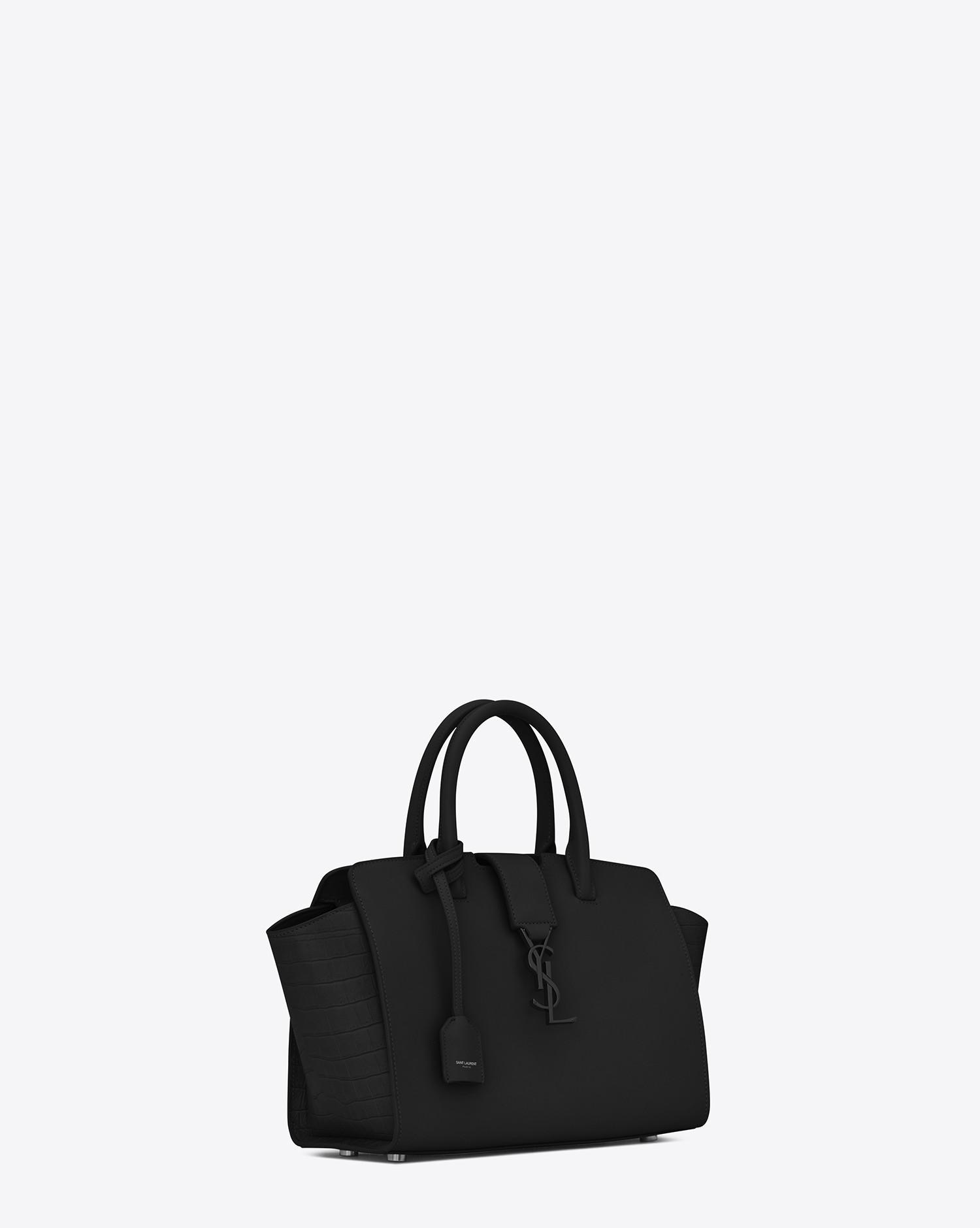 Saint Laurent. Women s Black Baby Monogram Downtown Cabas Leather Tote Bag f8a2cee5c2