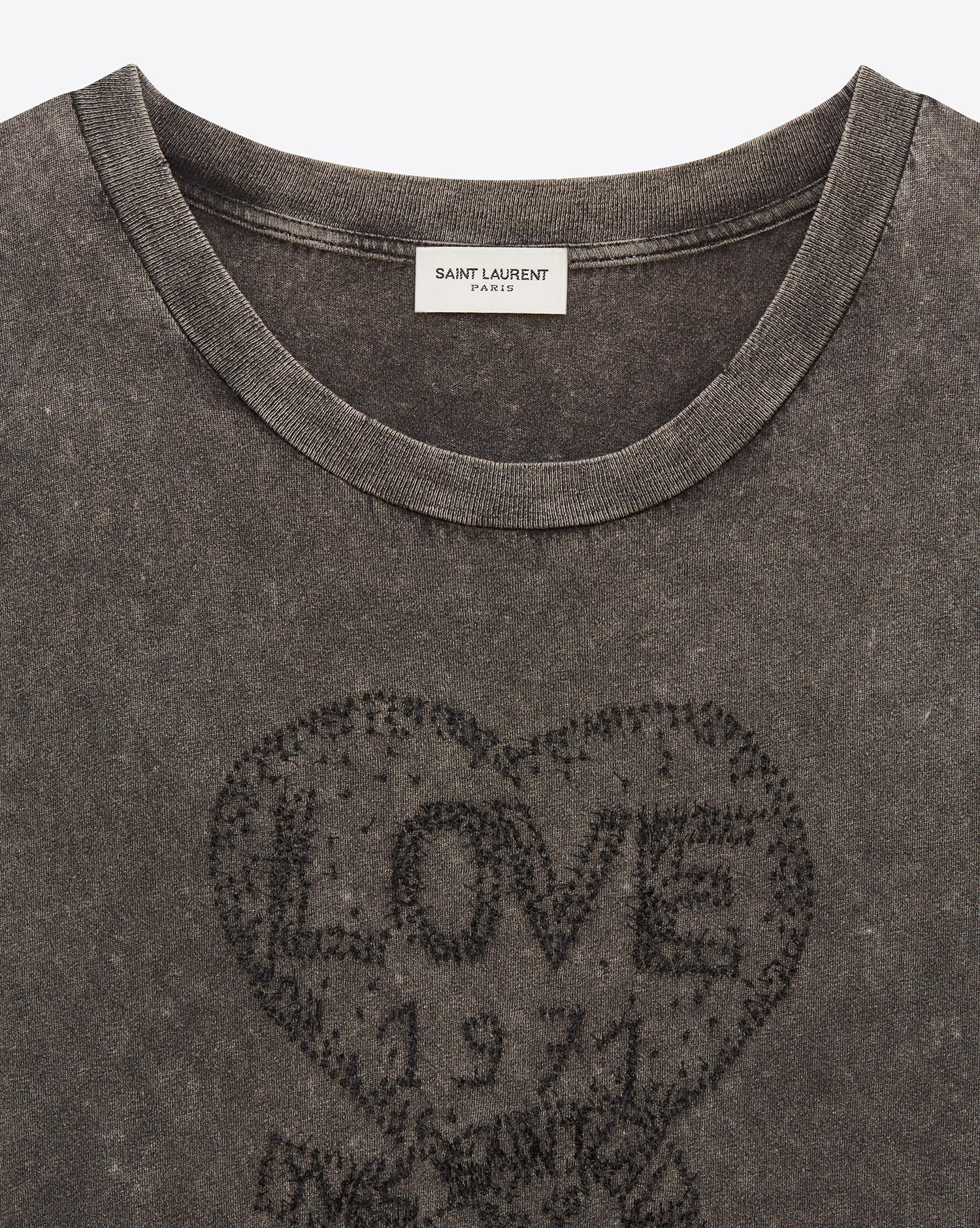 a1a1795044 Lyst - Saint Laurent T-shirt Embroidered With Love 1971 In Faded ...