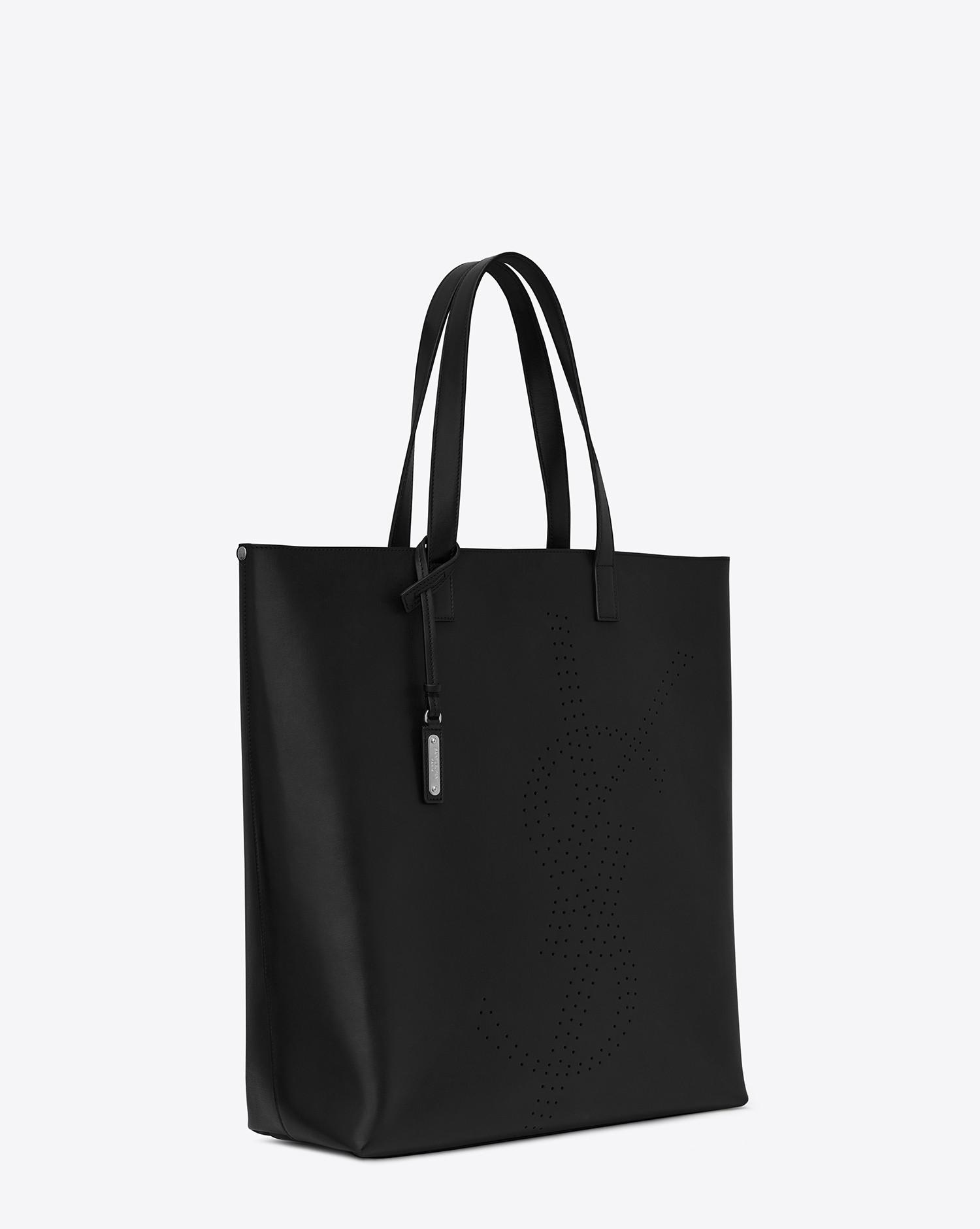 9fde34252d11 Saint Laurent Bold Shopping Bag In Vintage Leather With Perforated Logo in  Black for Men - Lyst