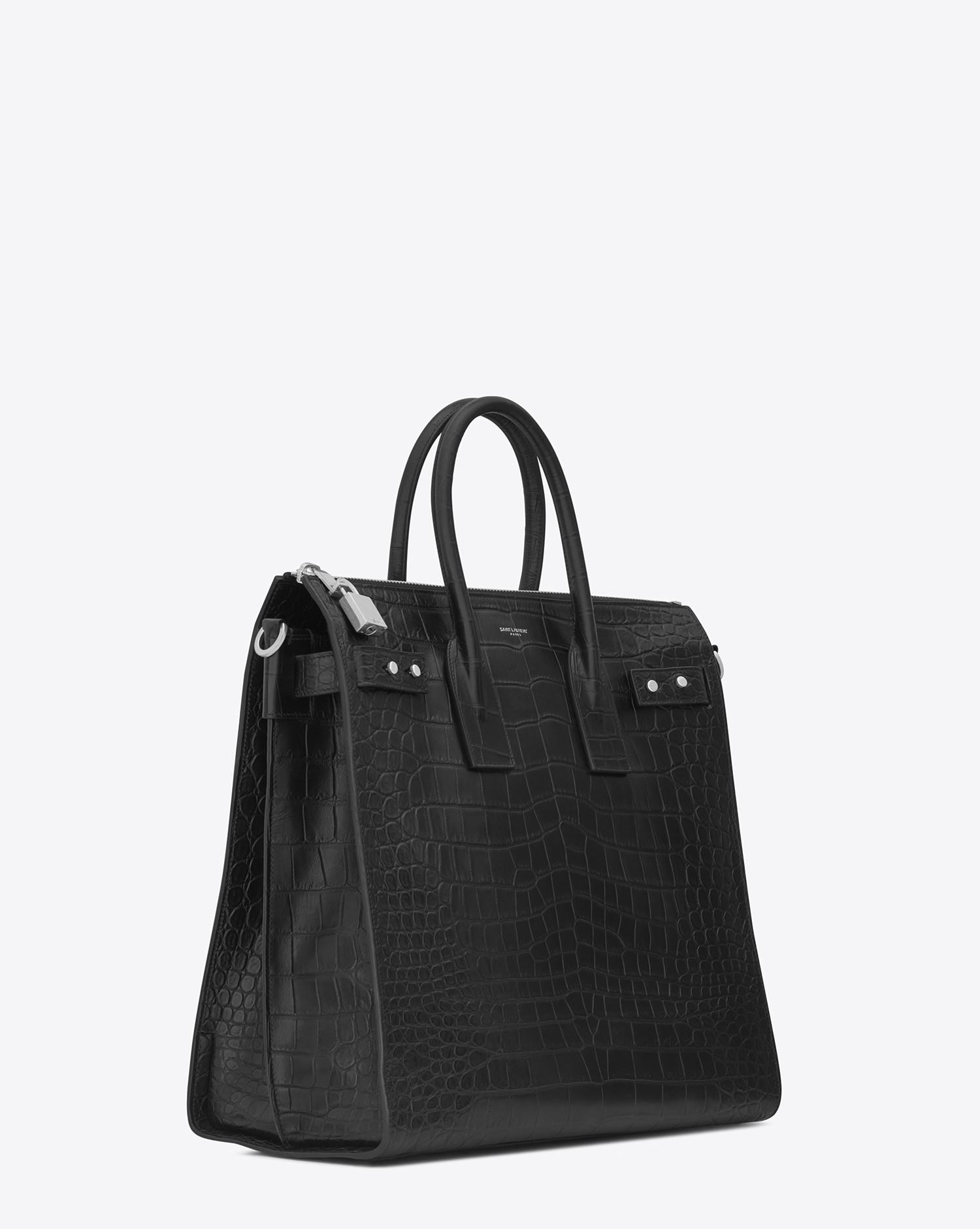 9bb0e91a440 Saint Laurent Sac De Jour North/south Tote In Crocodile Embossed ...
