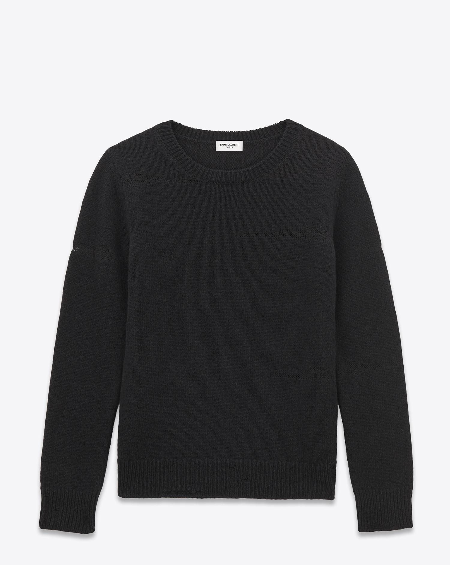 ddbe8ed127 Saint Laurent Grunge Crewneck Sweater In Black Shetland Wool And ...