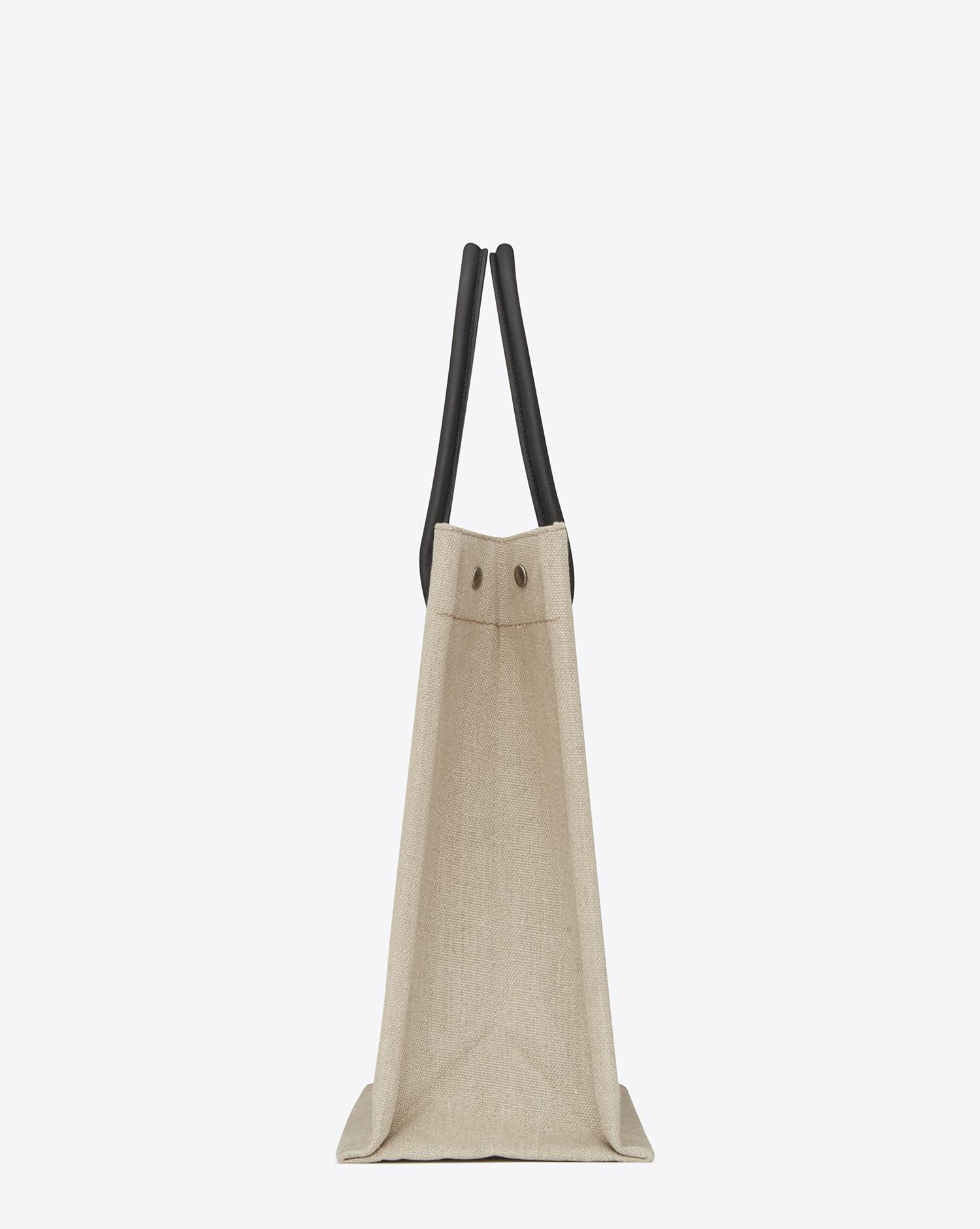 ebf8164b9d2 Saint Laurent Rive Gauche Tote Bag In Linen And Leather in White - Lyst