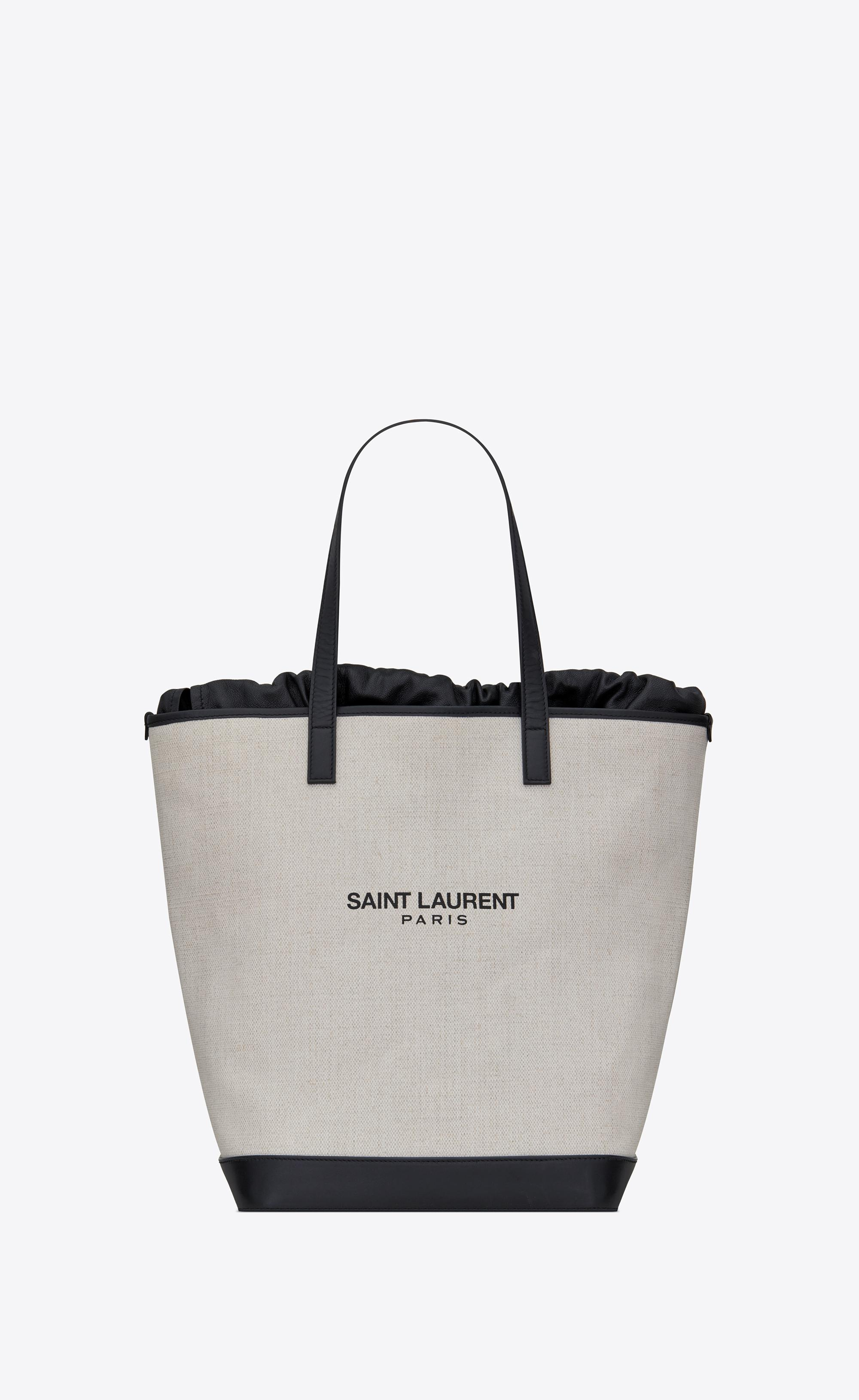 b8cd9a8357 Saint Laurent Teddy Shopping Bag In Linen Canvas in White - Lyst