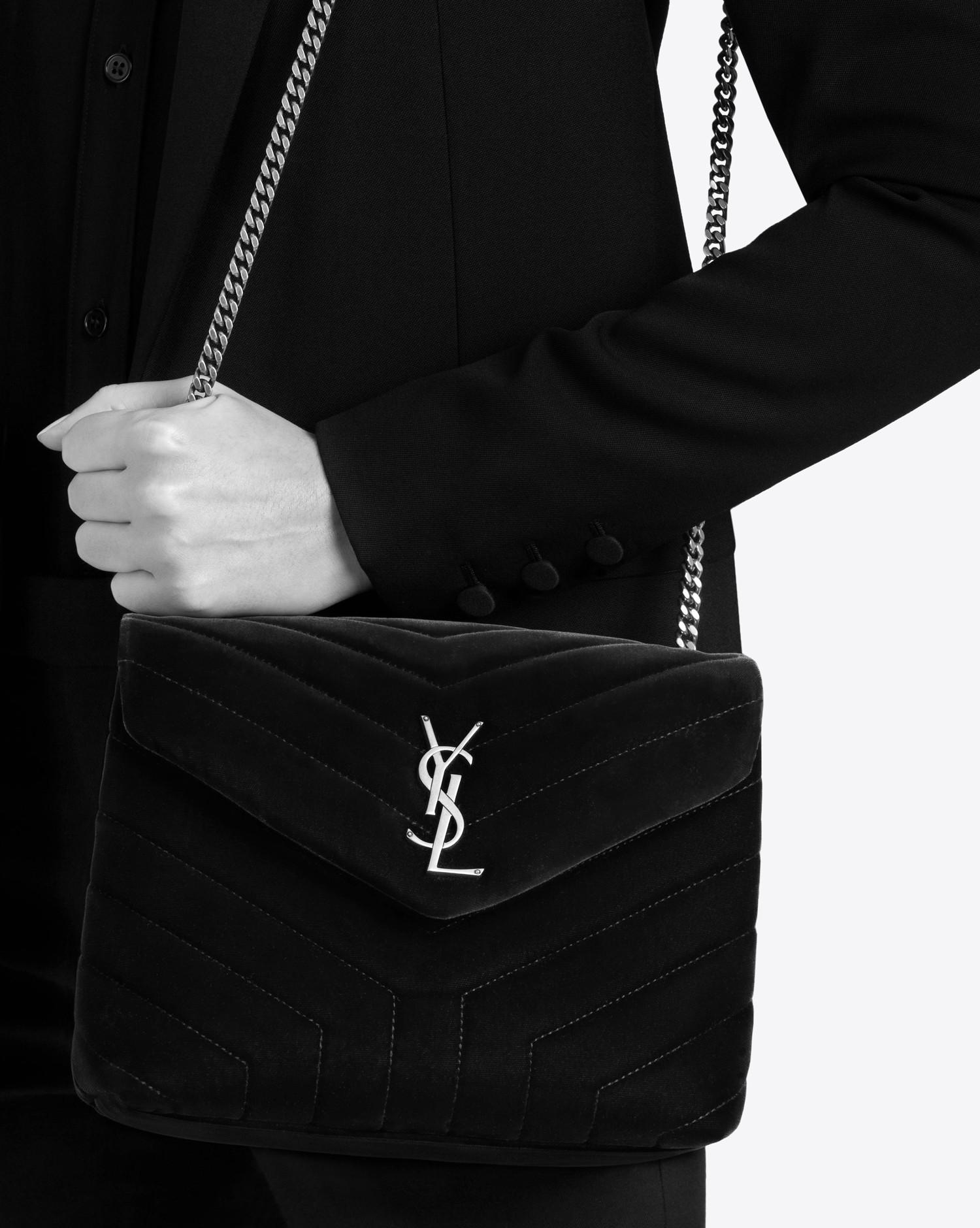 5549c7d84afd Lyst - Saint Laurent Small Loulou Chain Bag In Black