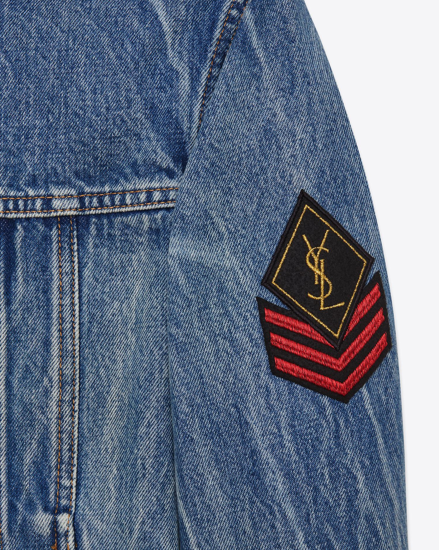 18045f1a0e6 Saint Laurent Original Ysl Military Patch Jean Jacket In Washed Blue ...
