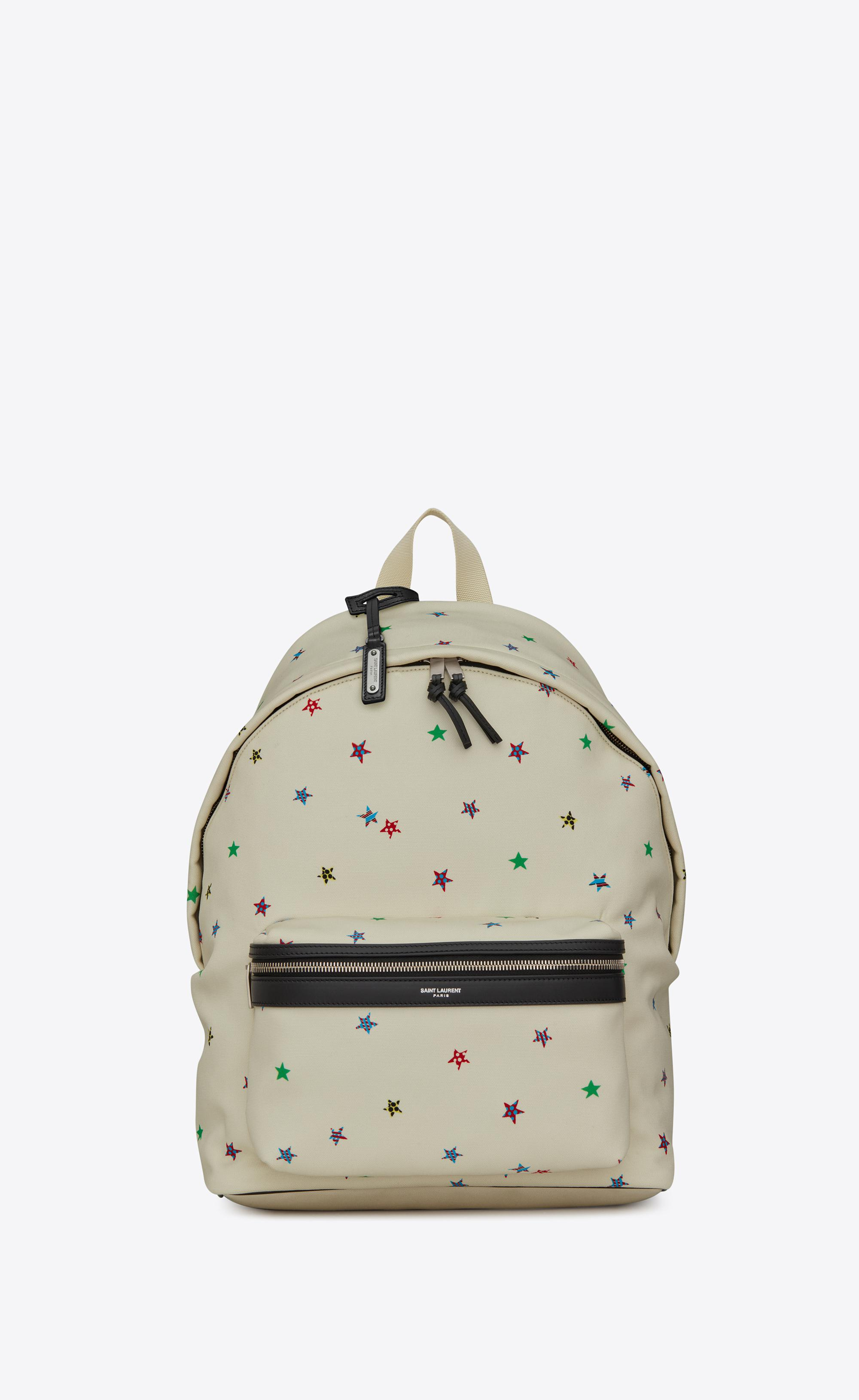 4d3e5ea54be Saint Laurent White City Canvas Backpack With Stars Print for men. View  fullscreen