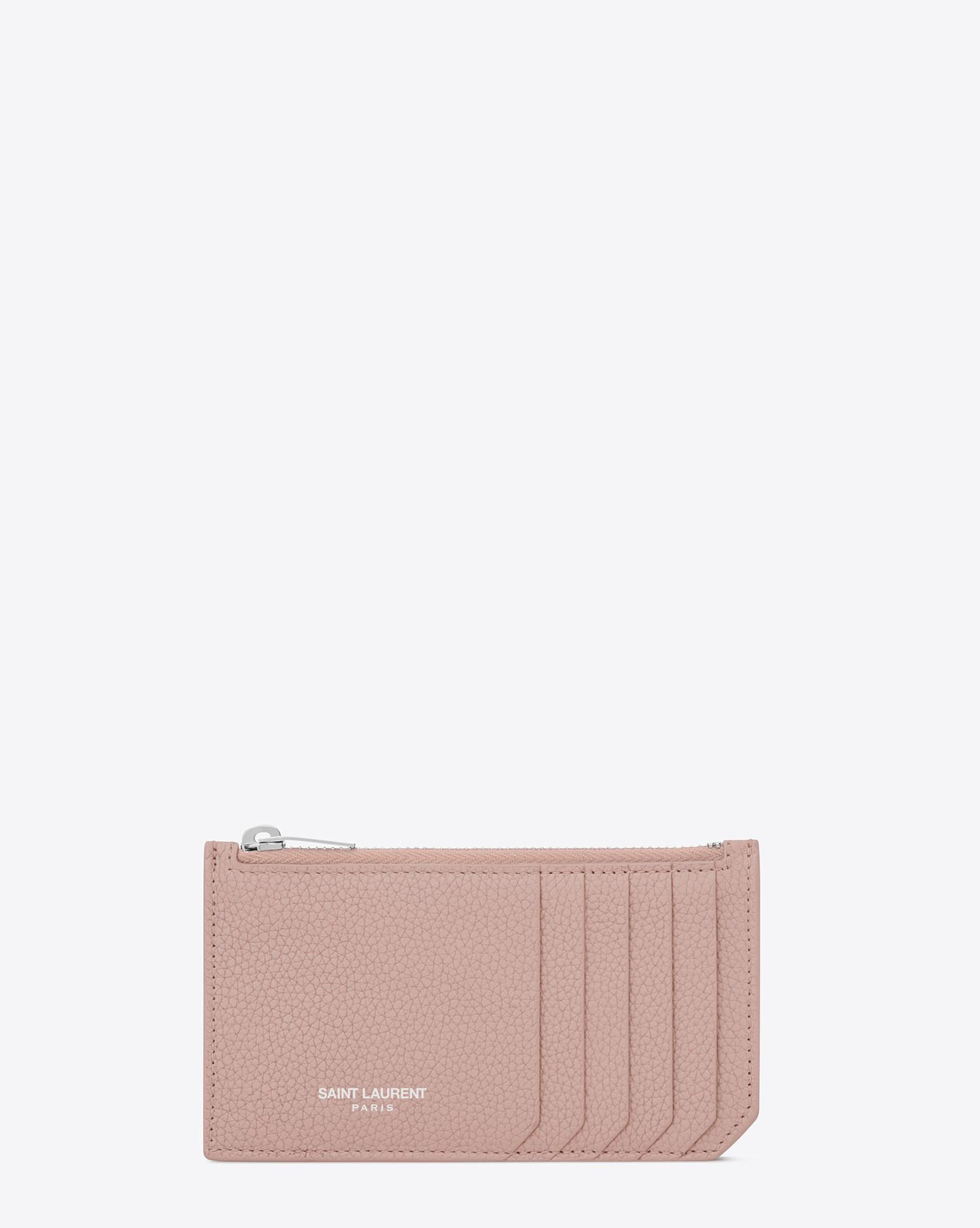 16b6fc708a4 Saint Laurent Fragments Zipped Card Case In Grained Leather in Pink ...