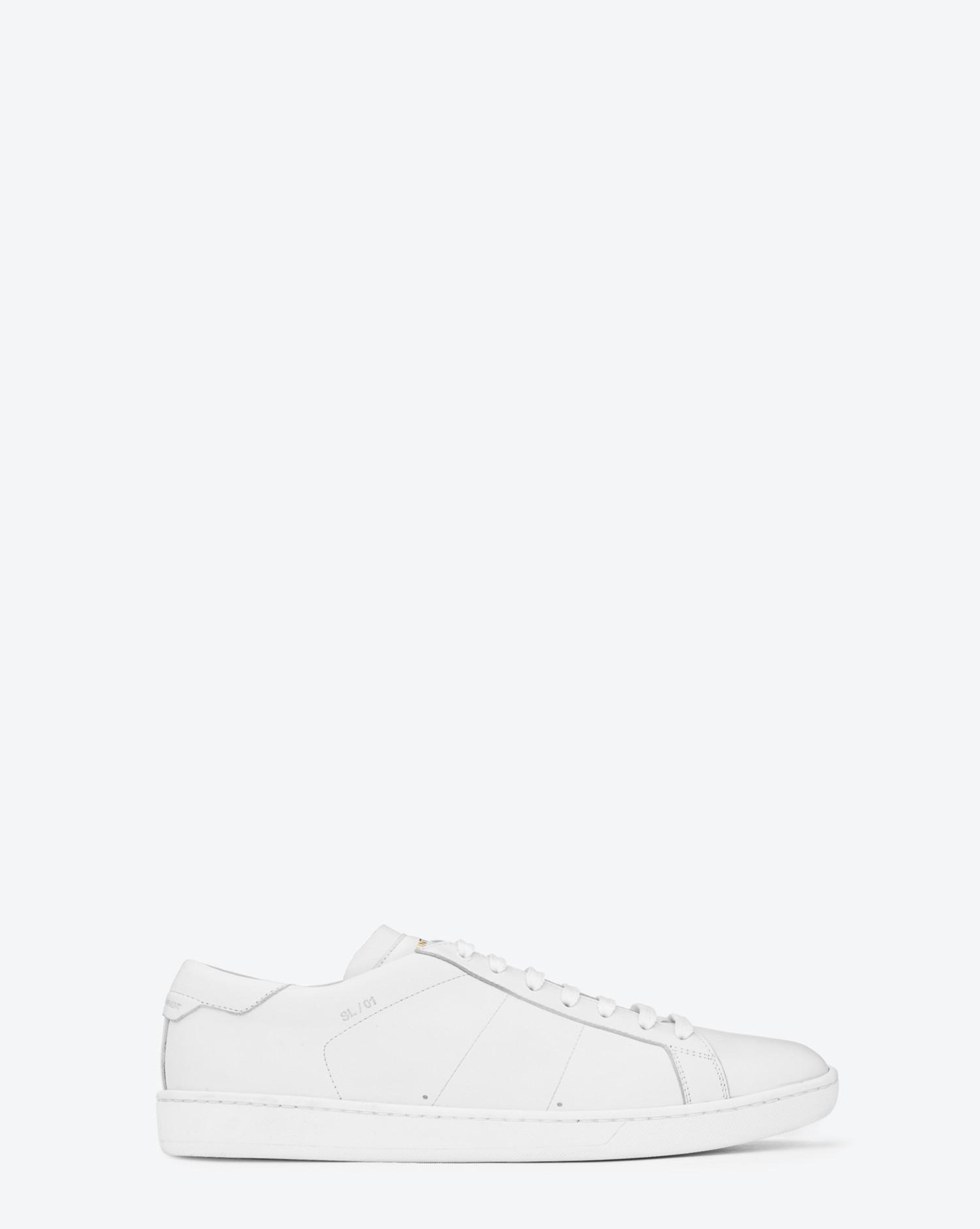 edac88b95a2 Saint Laurent Sl/01 Court Sneakers In Optic White Leather in White ...