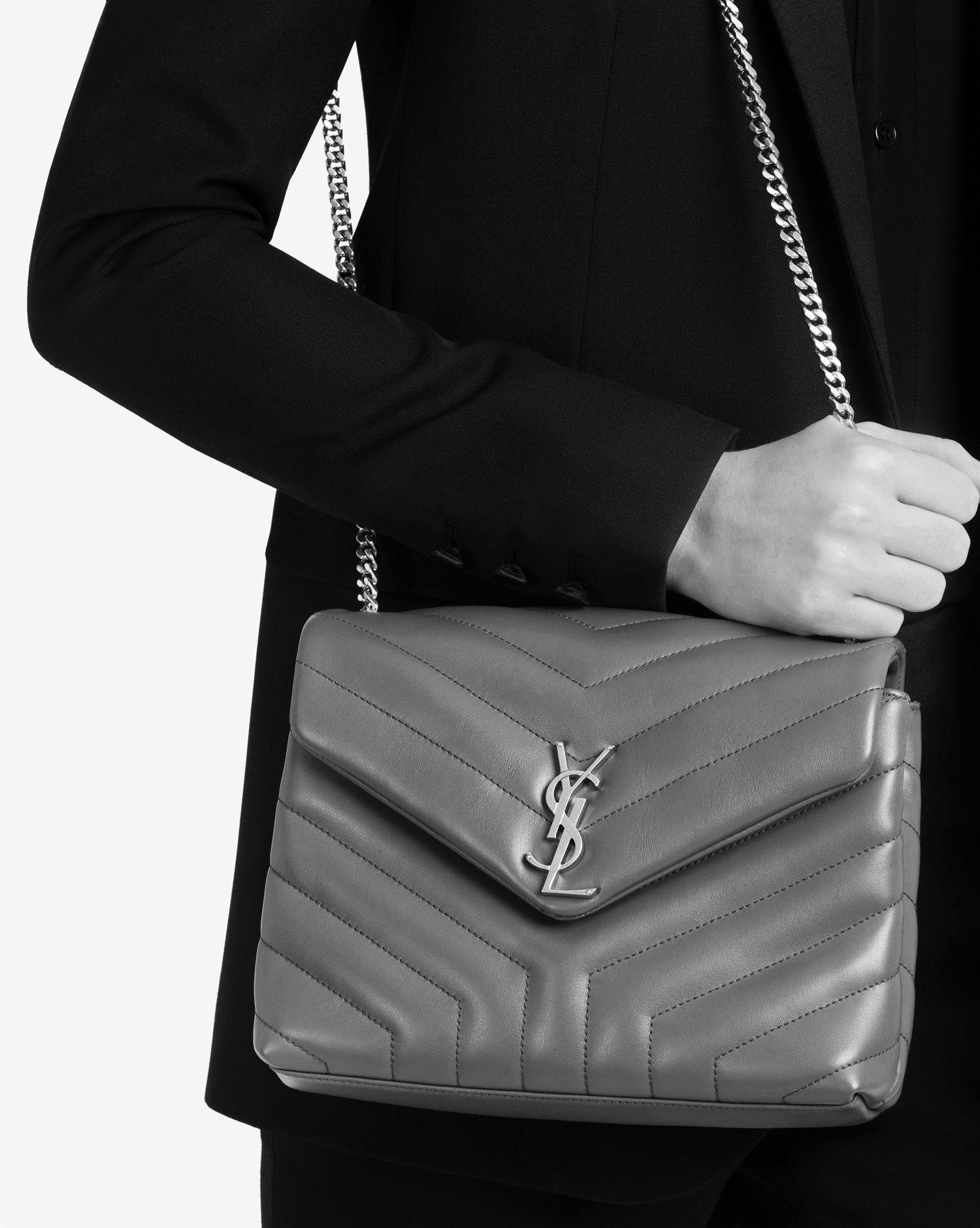 041fd8b10827 Saint Laurent Small Loulou Chain Bag In Grey