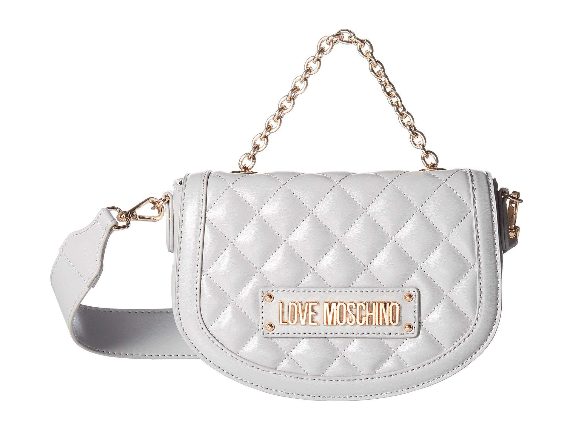 0a417192fad Love Moschino - Gray Shiny Quilted Crossbody (grey) Cross Body Handbags -  Lyst. View fullscreen