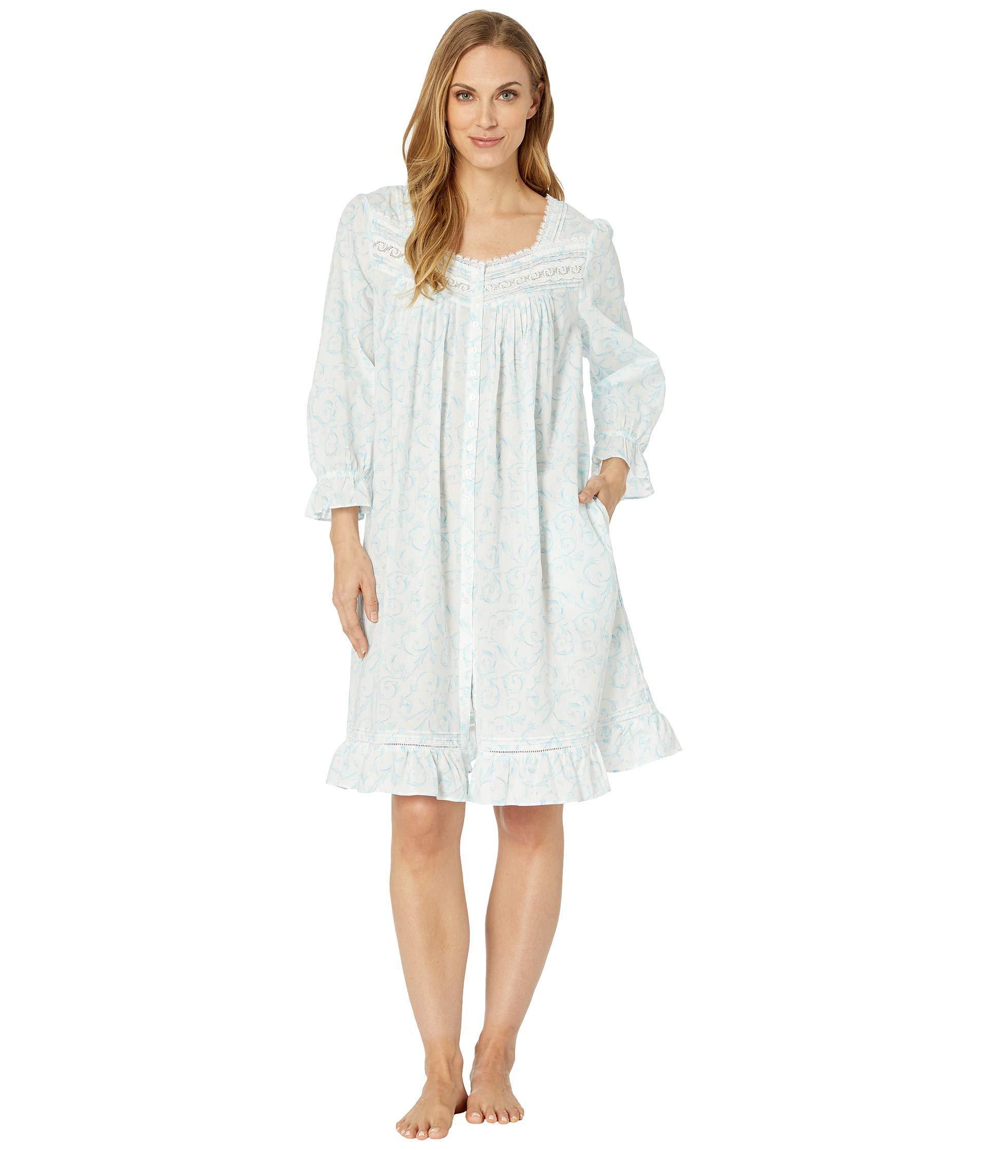 4bad91560f Lyst - Eileen West Cotton Lawn Short Button Front Coat (white Ground ...