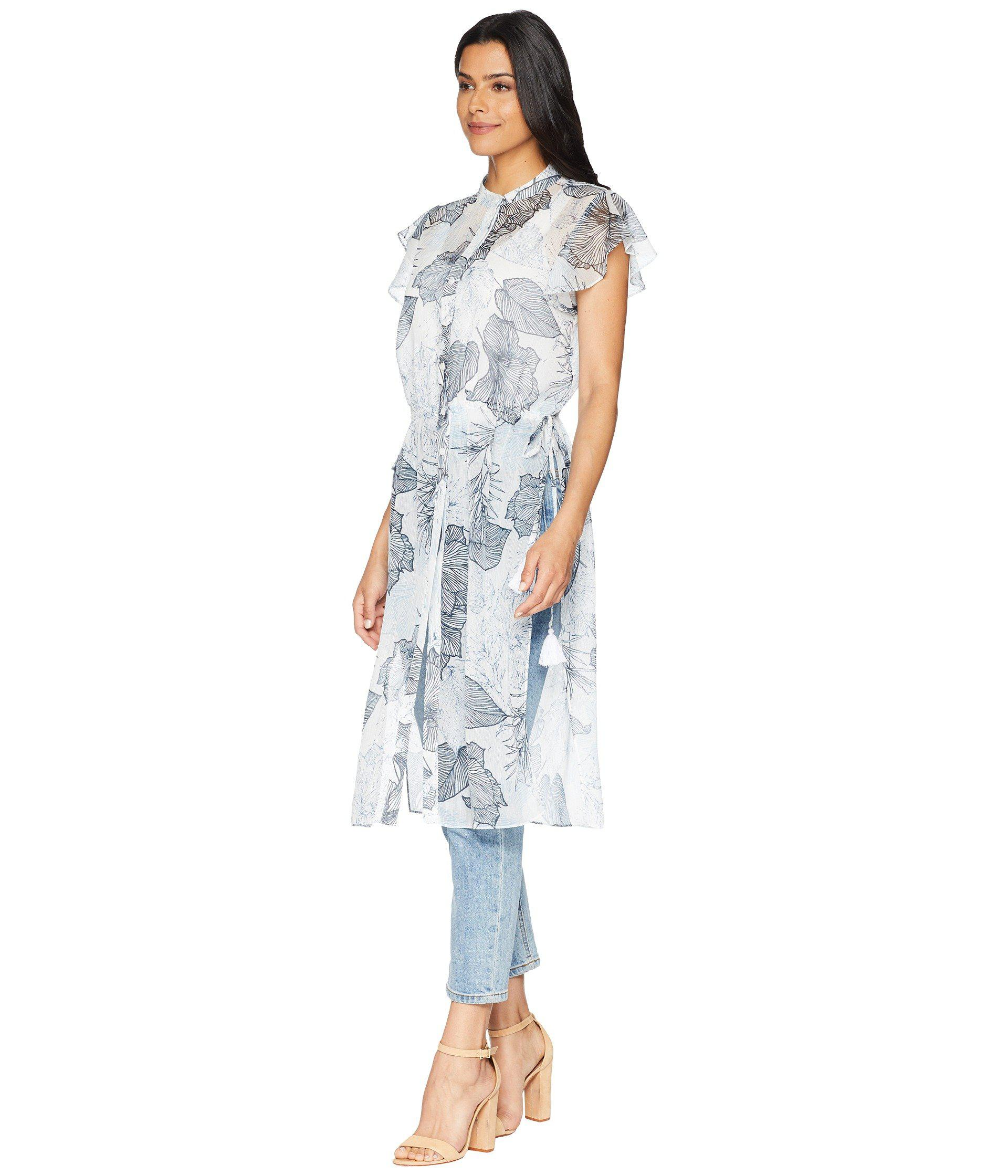 50ee31a7e2 Lyst - Vince Camuto Flutter Sleeve Floral Side Tie Long Tunic (ultra ...