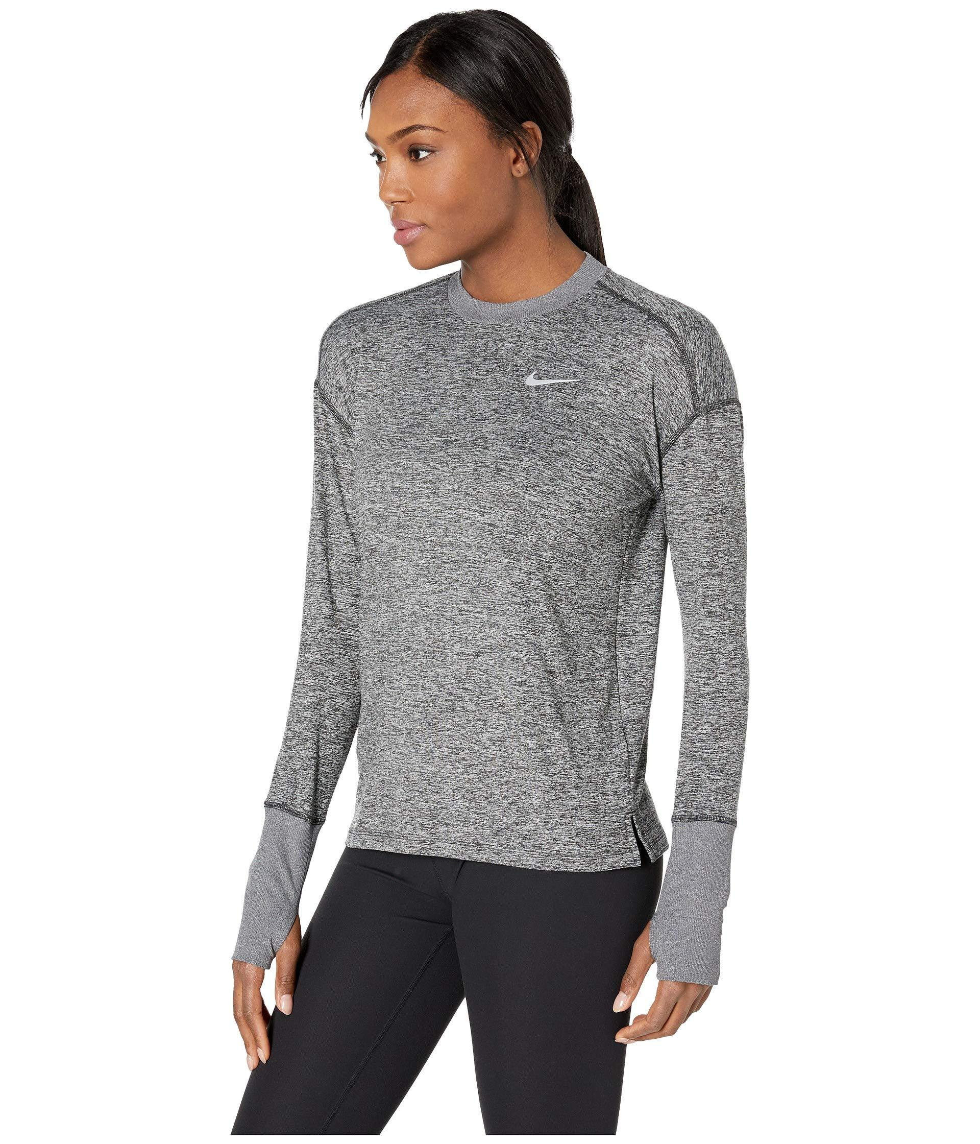 8b28ad5b61ca Lyst - Nike Element Top Crew (black heather reflective Silver) Women s  Clothing in Gray
