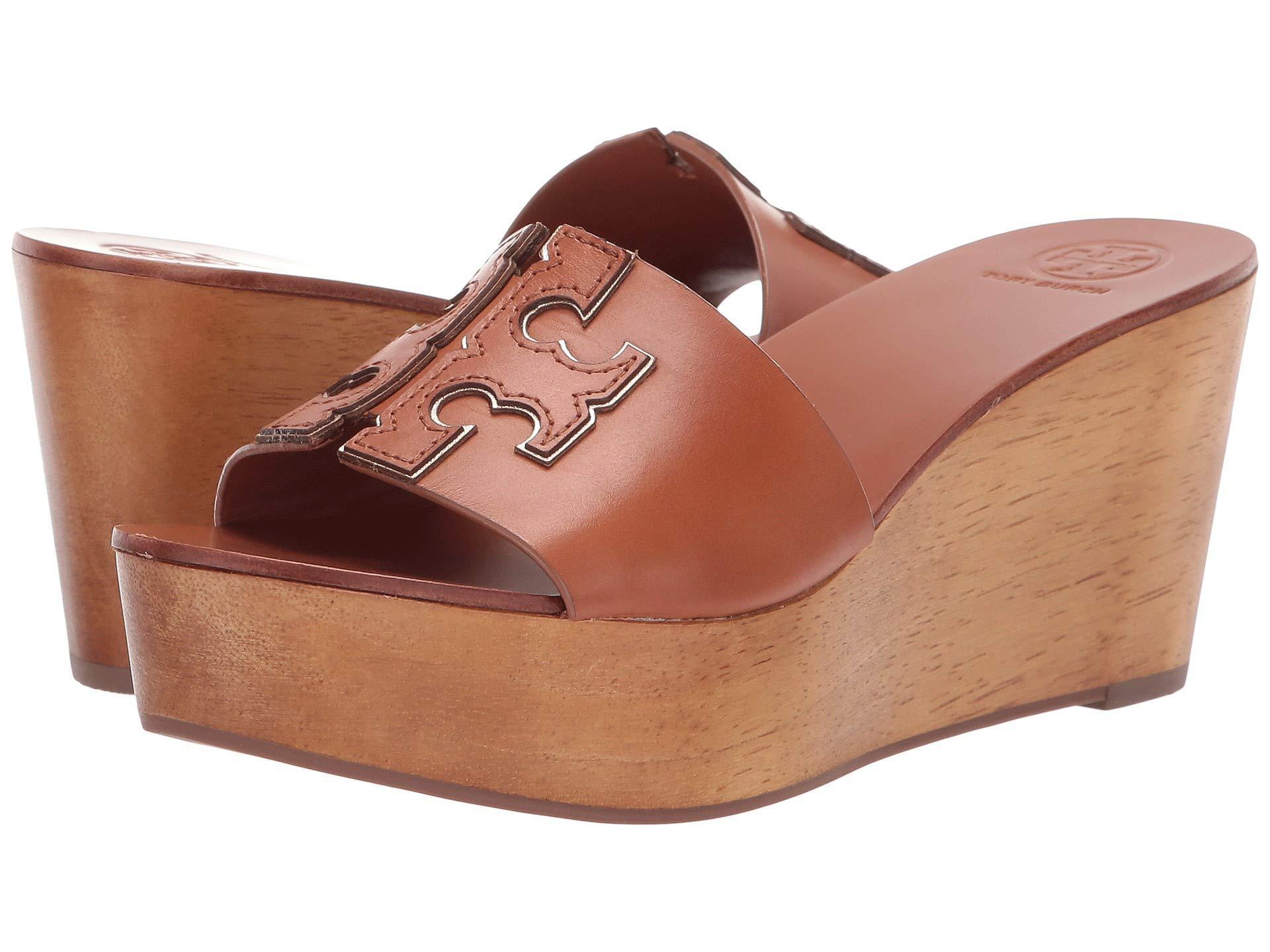 20bcd0639 Lyst - Tory Burch Women s Ines Wedge Platform Slide Sandals in Brown ...