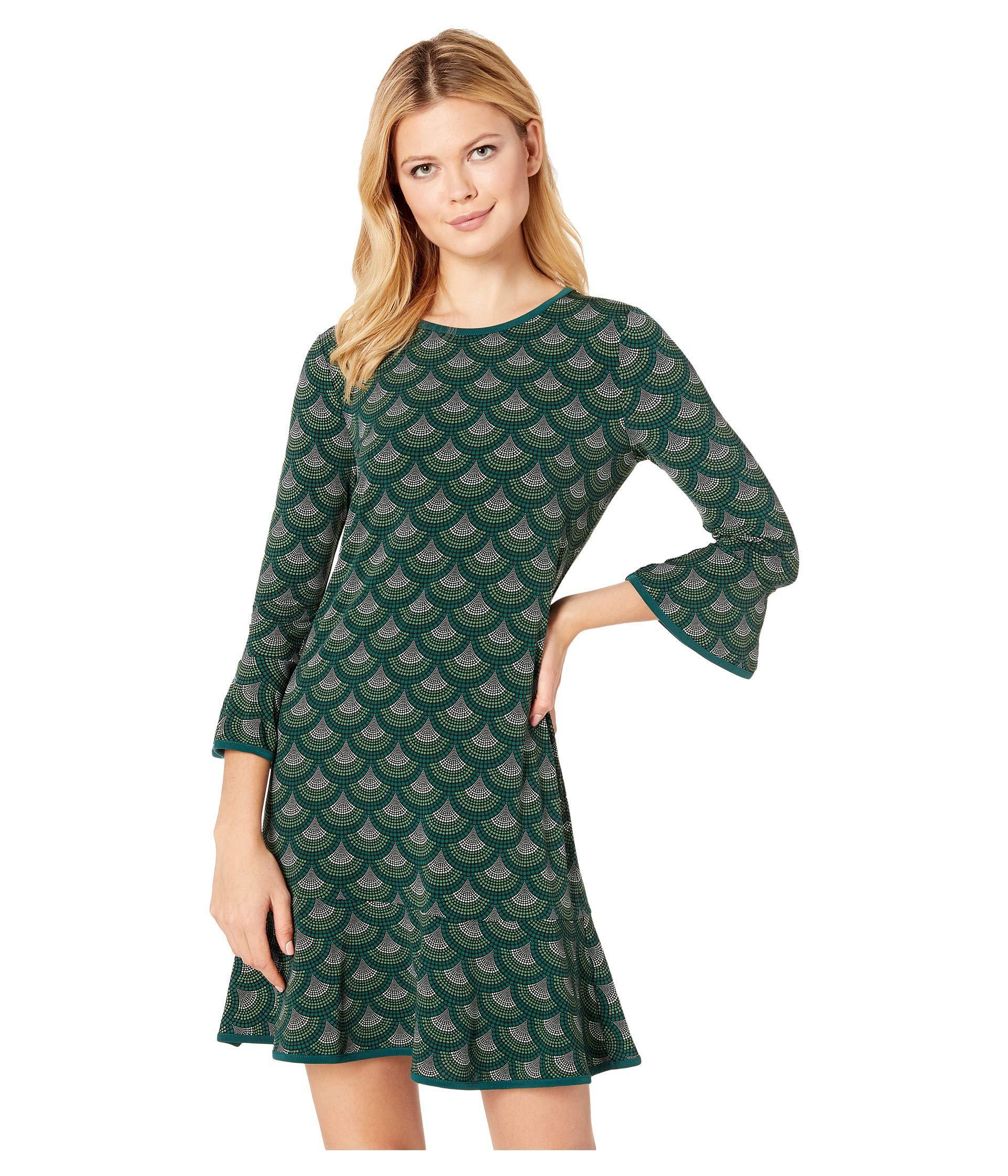 99c3331c27afb Green Chandelier Scallop Flounce Sleeve Dress (dark Emerald) Women s Dress