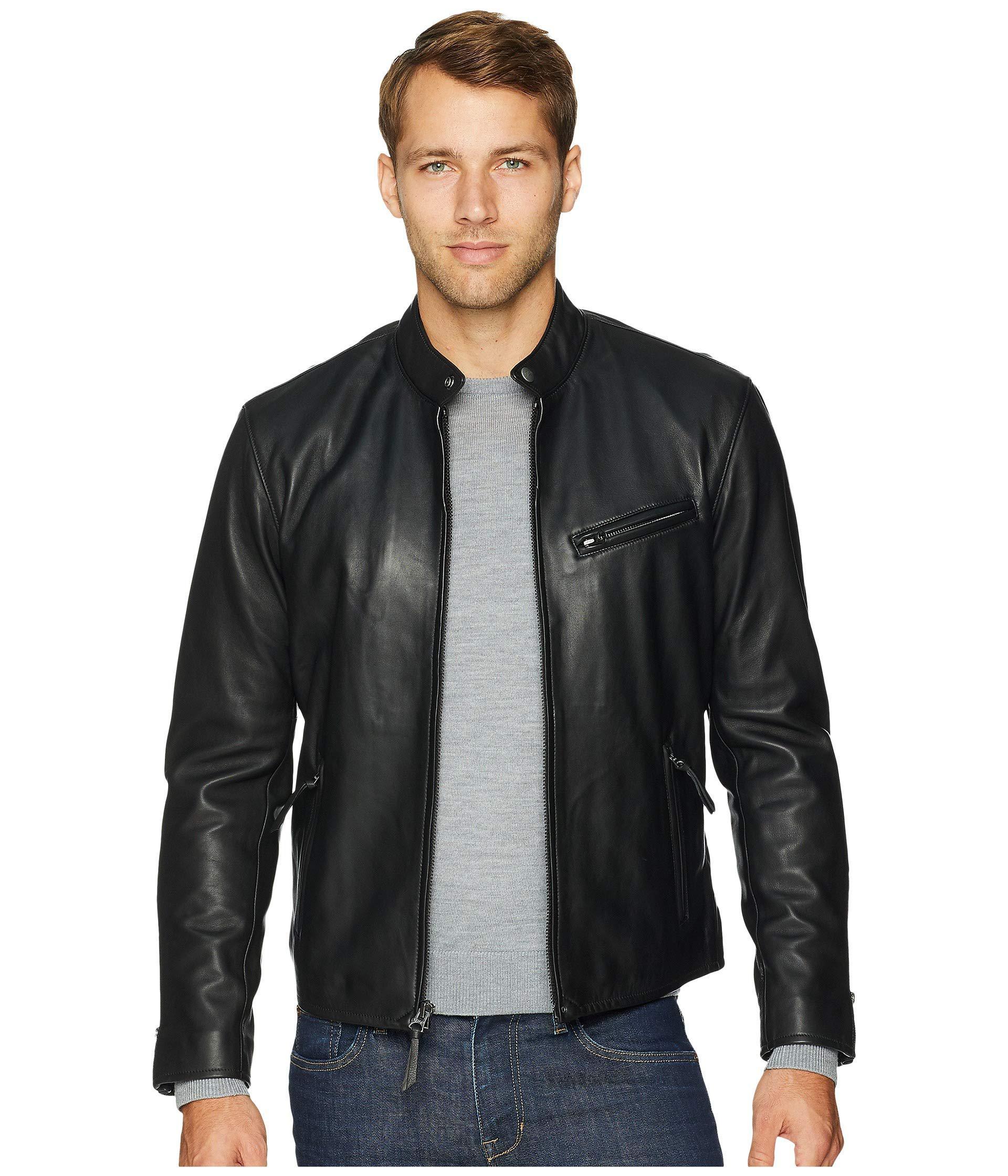 d0d91e13ea34 Polo Ralph Lauren. Cafe Racer Leather Jacket (polo Black) Men s Coat
