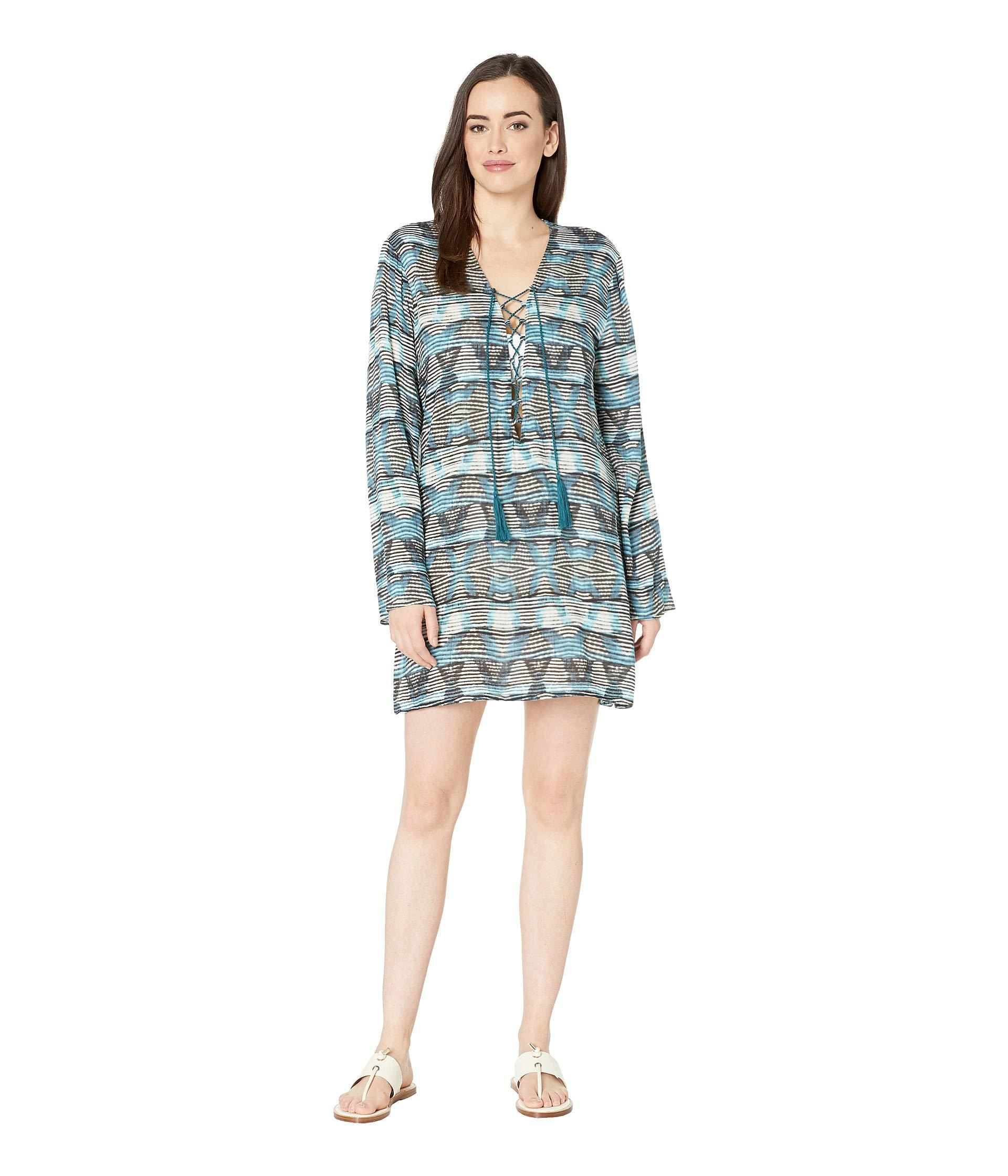 18b3fe6cbea1a Lyst - La Blanca Re-fresh Lace Front Tunic Cover-up (blue) Women s ...