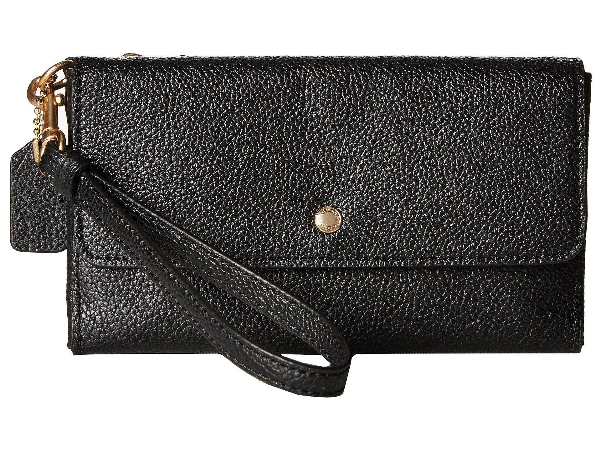 72589c2f7174 Lyst - COACH Triple Small Wristlet In Polished Pebble Leather (li ...