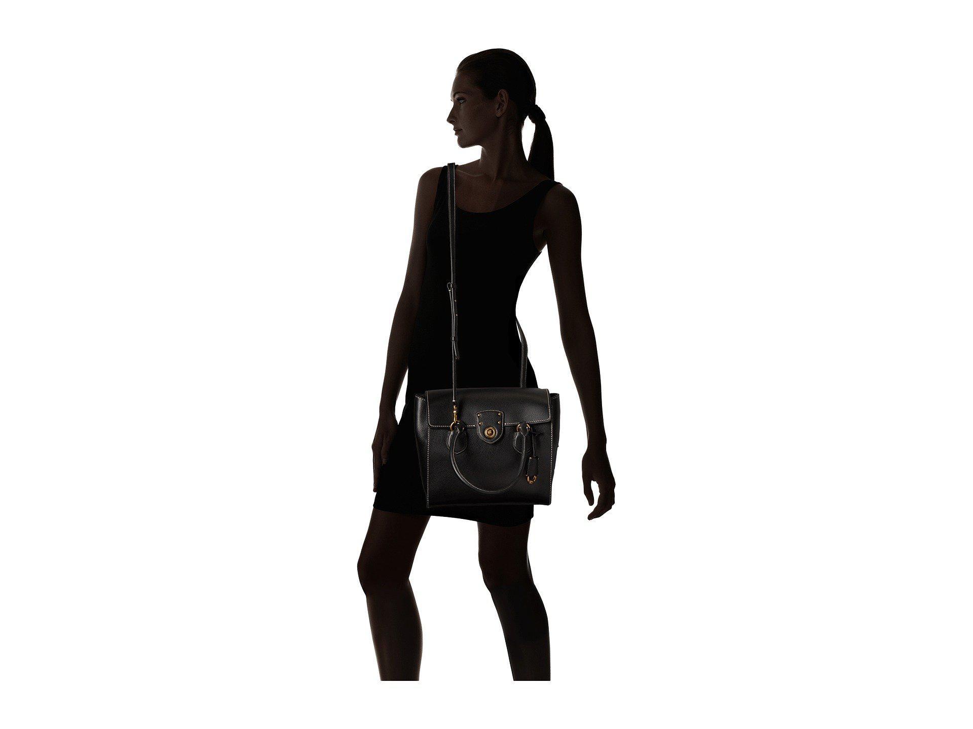 4f6a121f97 Lyst - Lauren by Ralph Lauren Millbrook Flap Satchel Large in Black