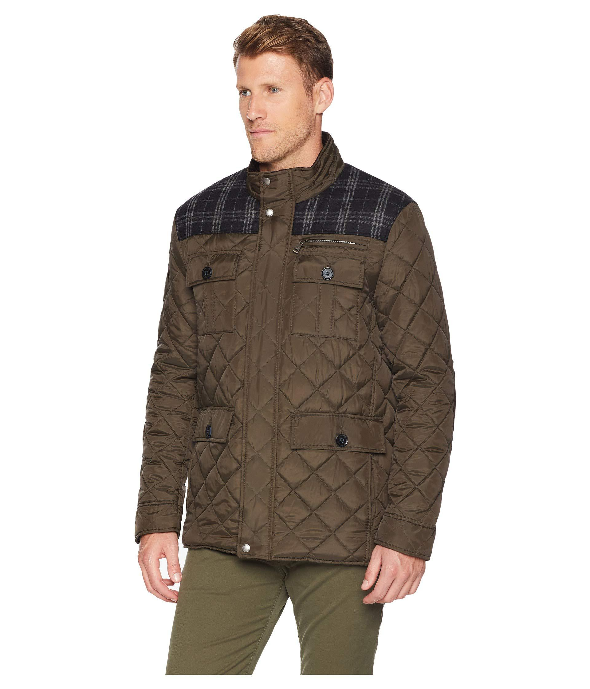 Lyst Cole Haan Mixed Media Multi Pockets Quilted Jacket Olive