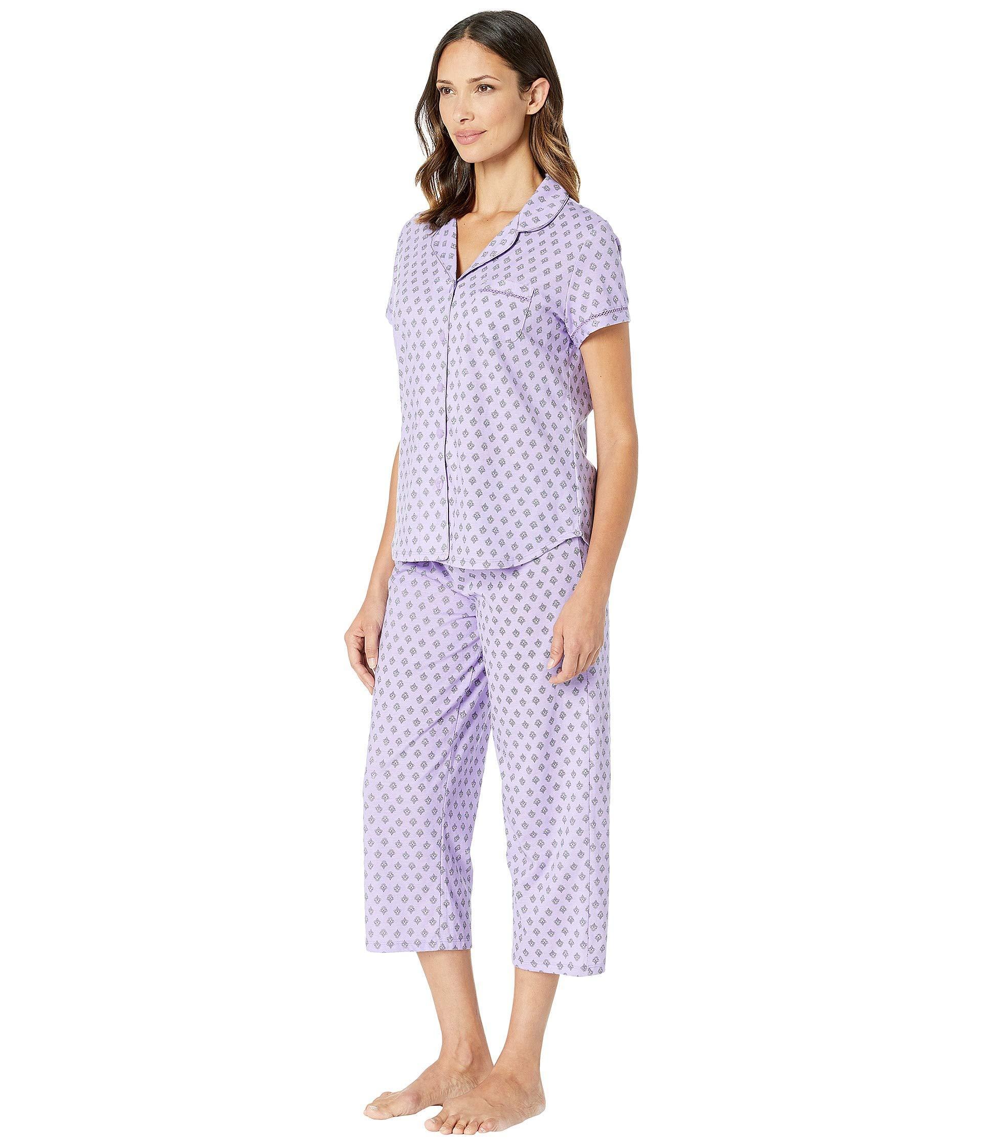 7e00a160e405 Lyst - Karen Neuburger Cloud Nine Short Sleeve Girlfriend Capris Pj  (floral mint) Women s Pajama Sets in Purple