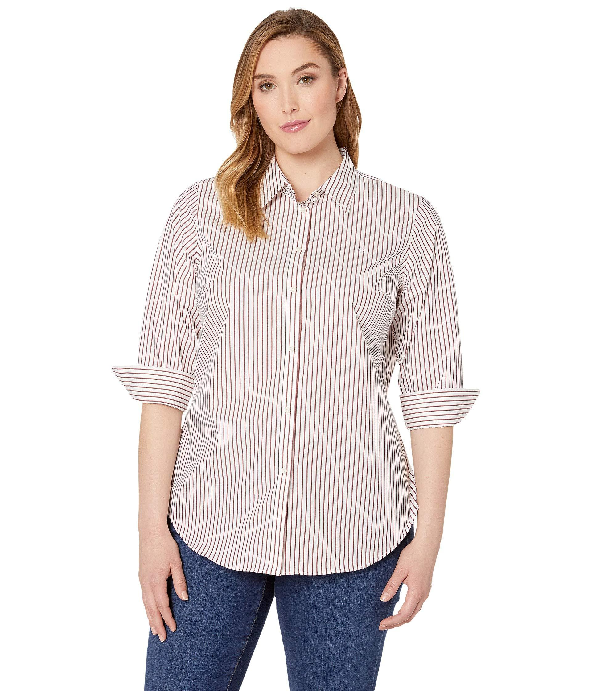67f11abe Lauren by Ralph Lauren - Plus Size No-iron Striped Button Down Shirt  (white. View fullscreen