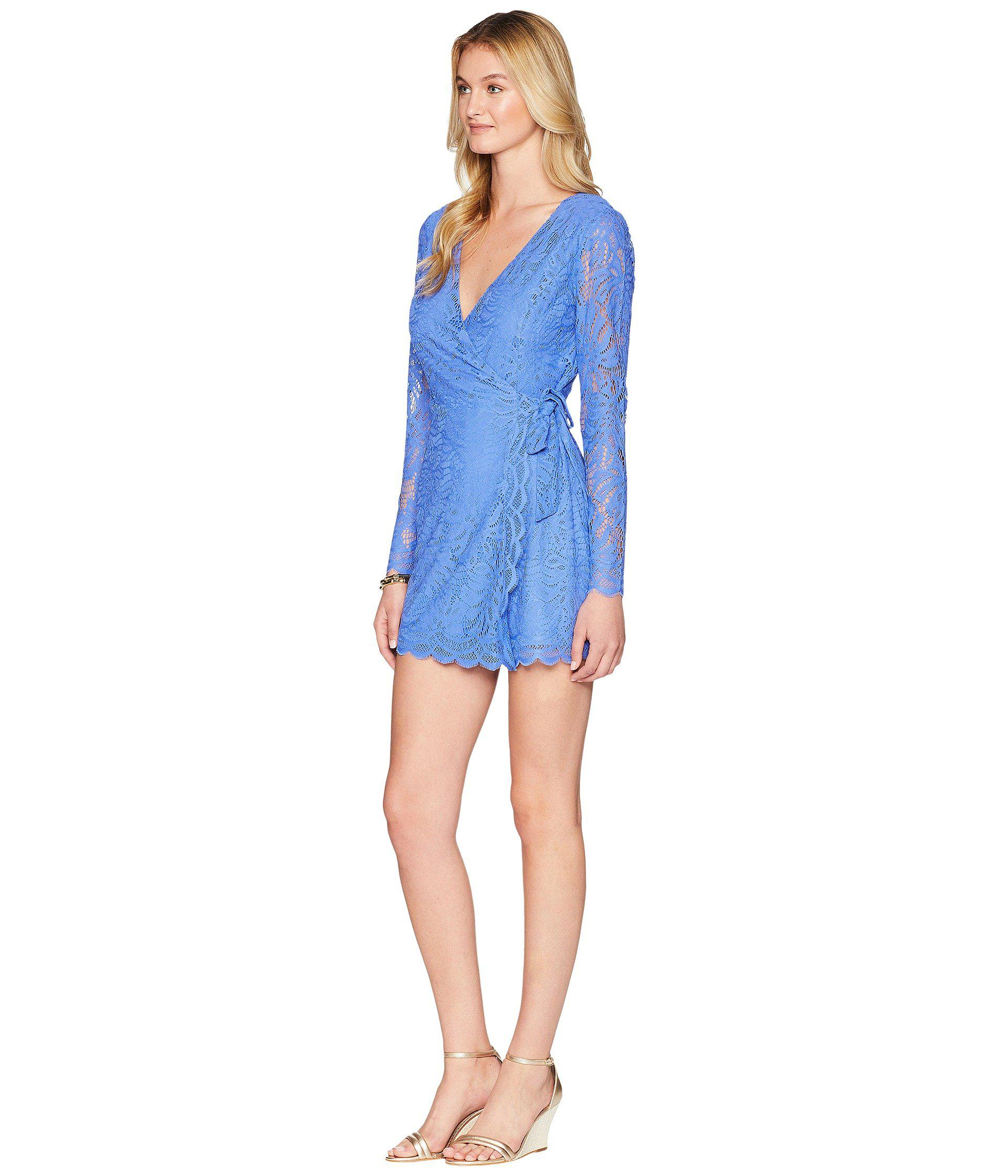 e7dd221d2779 Lyst - Lilly Pulitzer Tiki Wrap Romper (beckon Blue Paradise Found Lace) Women s  Jumpsuit   Rompers One Piece in Blue