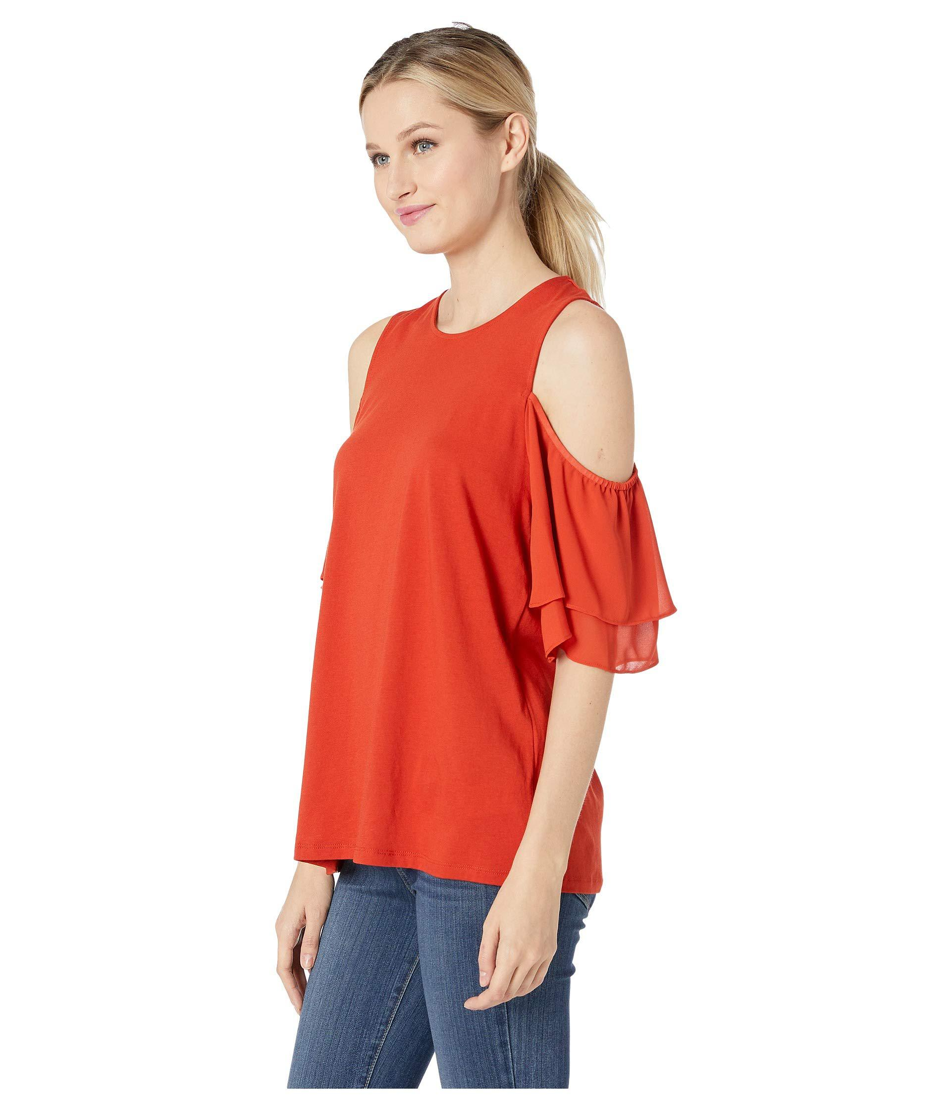 e3eccd5469a57 Lyst - Michael Michael Kors Georgette Flutter Cold Shoulder Top (bright  Terra Cotta) Women s Clothing in Red