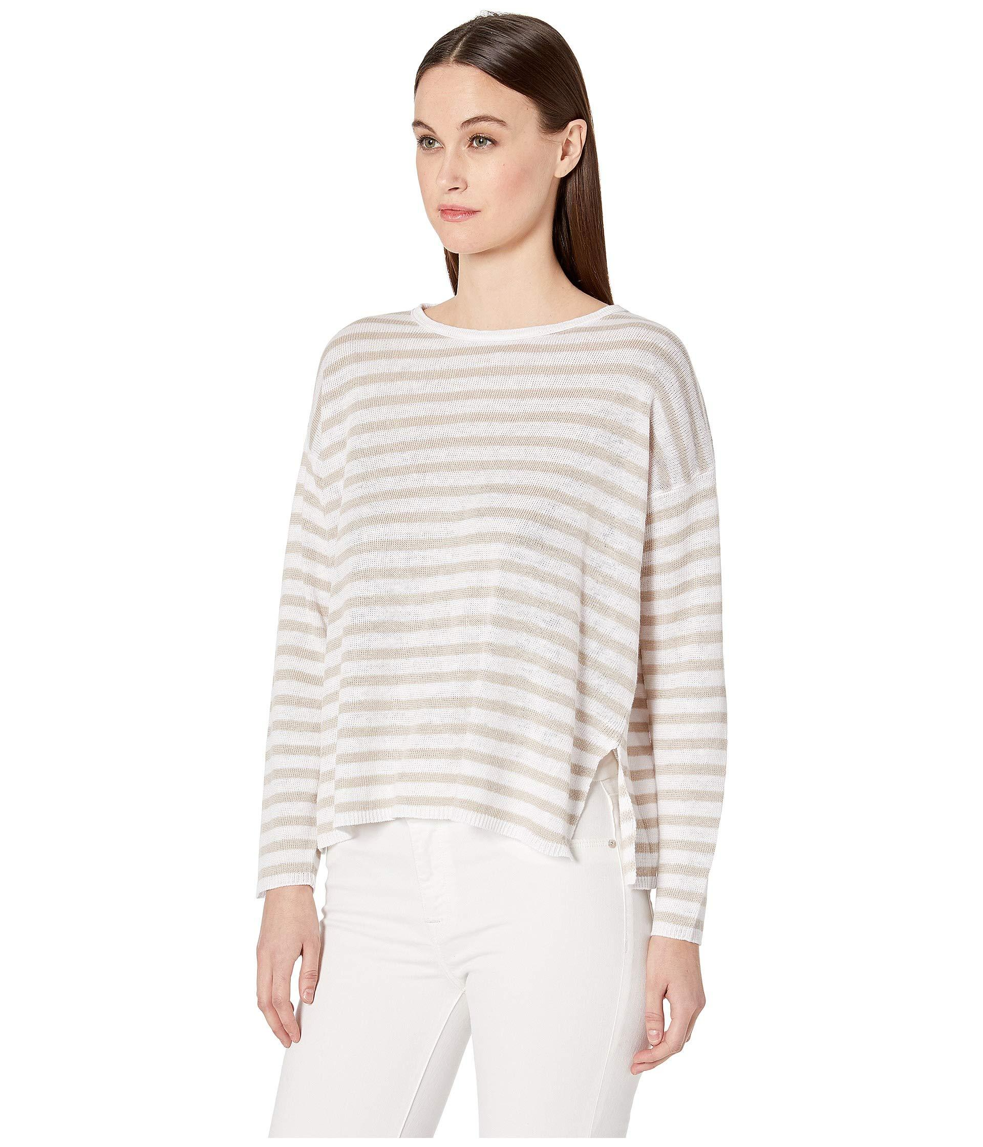 45389e10b6a14d Lyst - Eileen Fisher Round Neck Box-top (white natural) Women s Sweater in  White