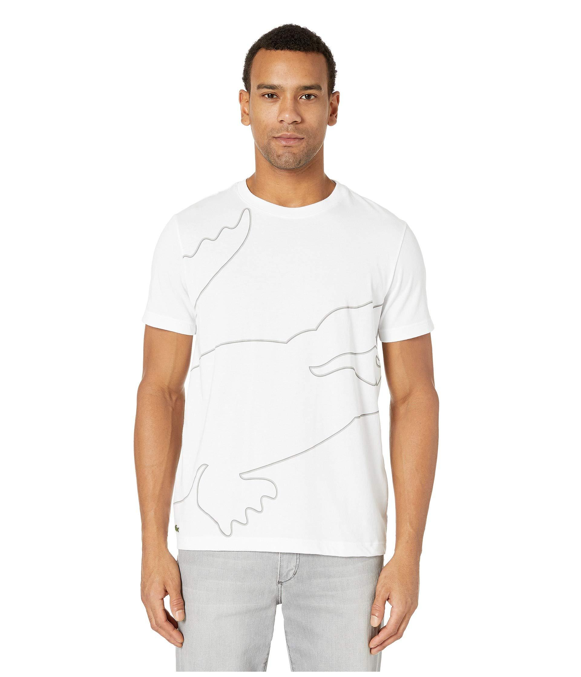211beeabfd33c Lyst - Lacoste Short Sleeve Outlined Big Croc Tee (silver Chine ...