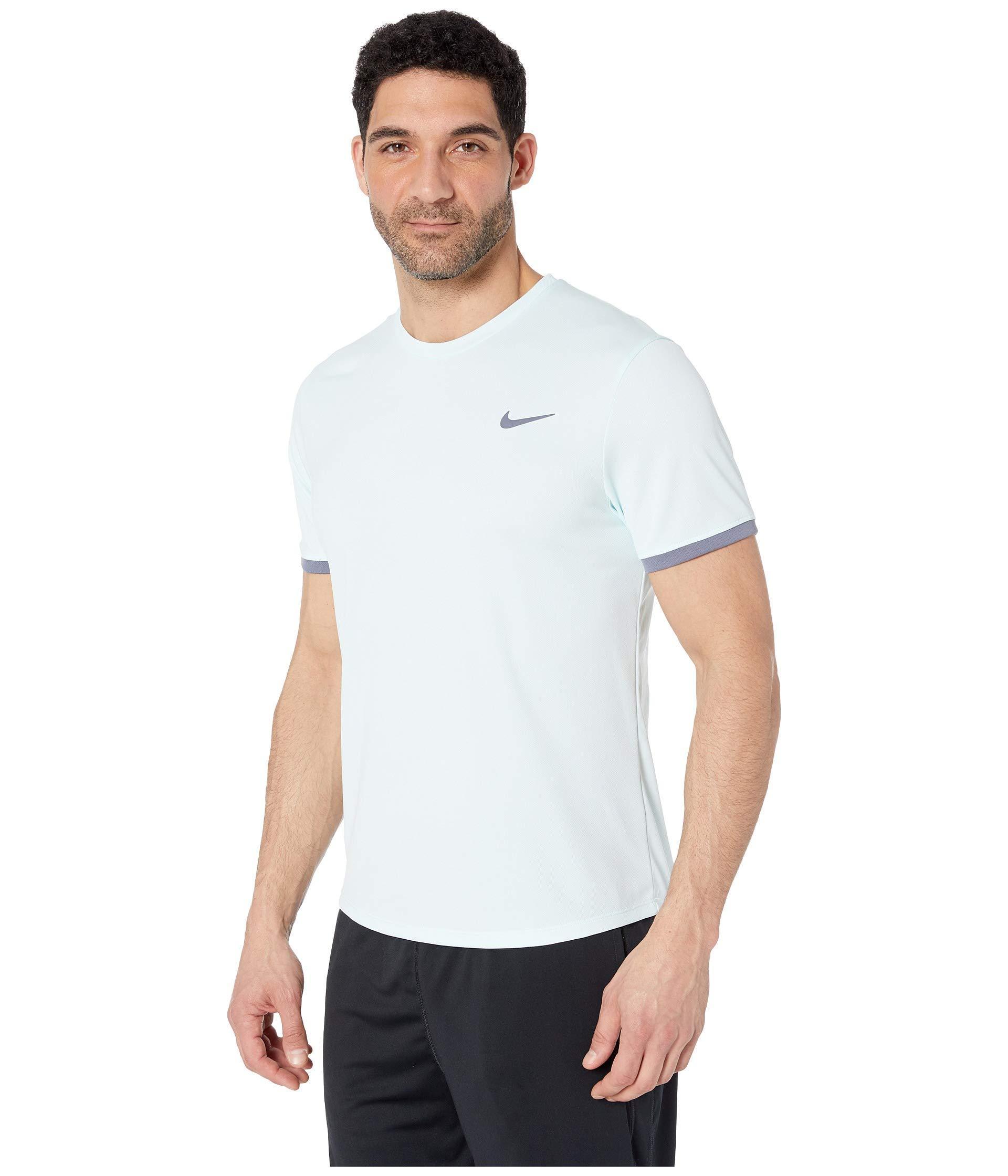 cd32fbd8b2b8 Lyst - Nike Court Dri-fit Short Sleeve Tennis Top (light  Carbon gridiron light Carbon) Men s Clothing in Black for Men