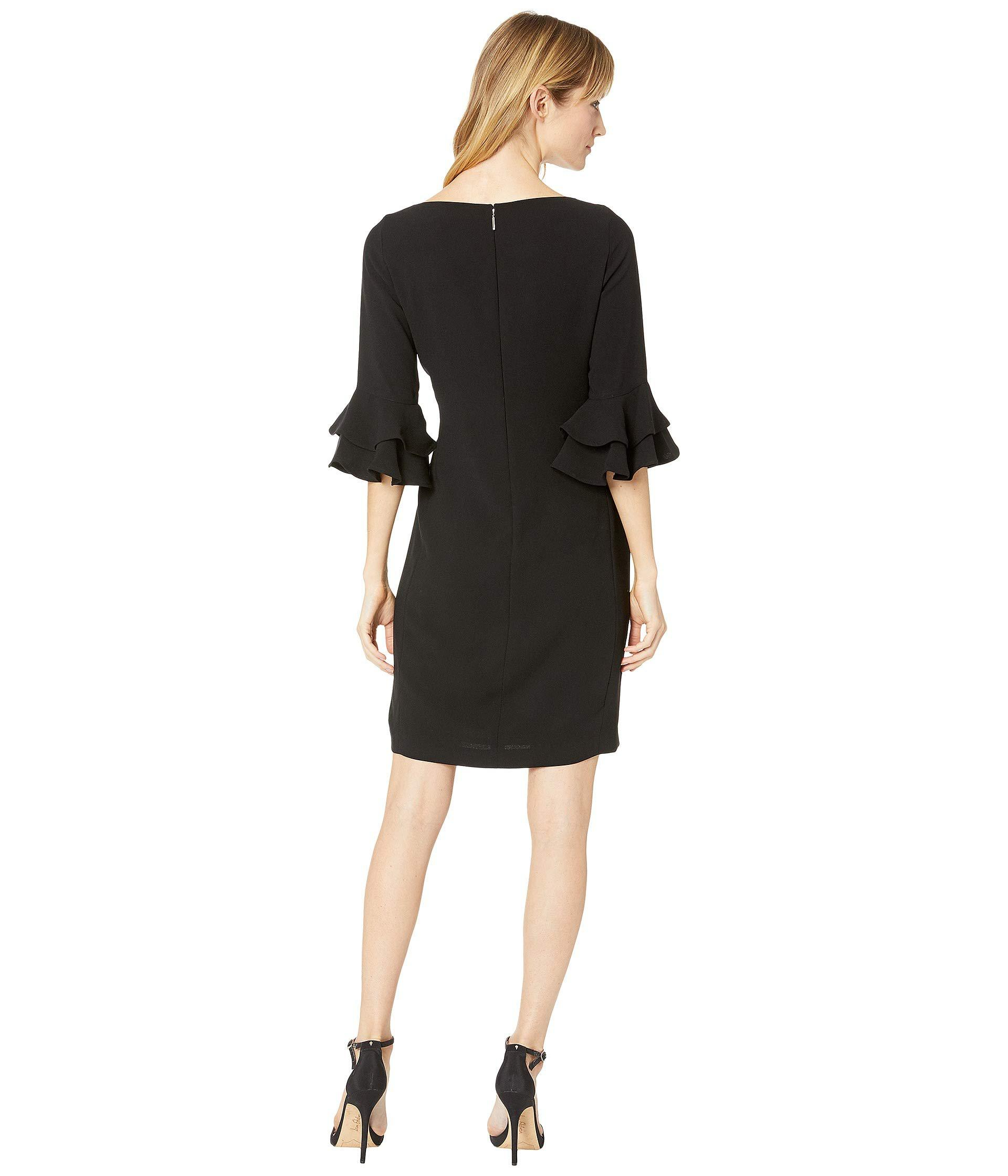 797e1a9864 Lauren by Ralph Lauren Ruffle-sleeve Crepe Dress (polo Black ...