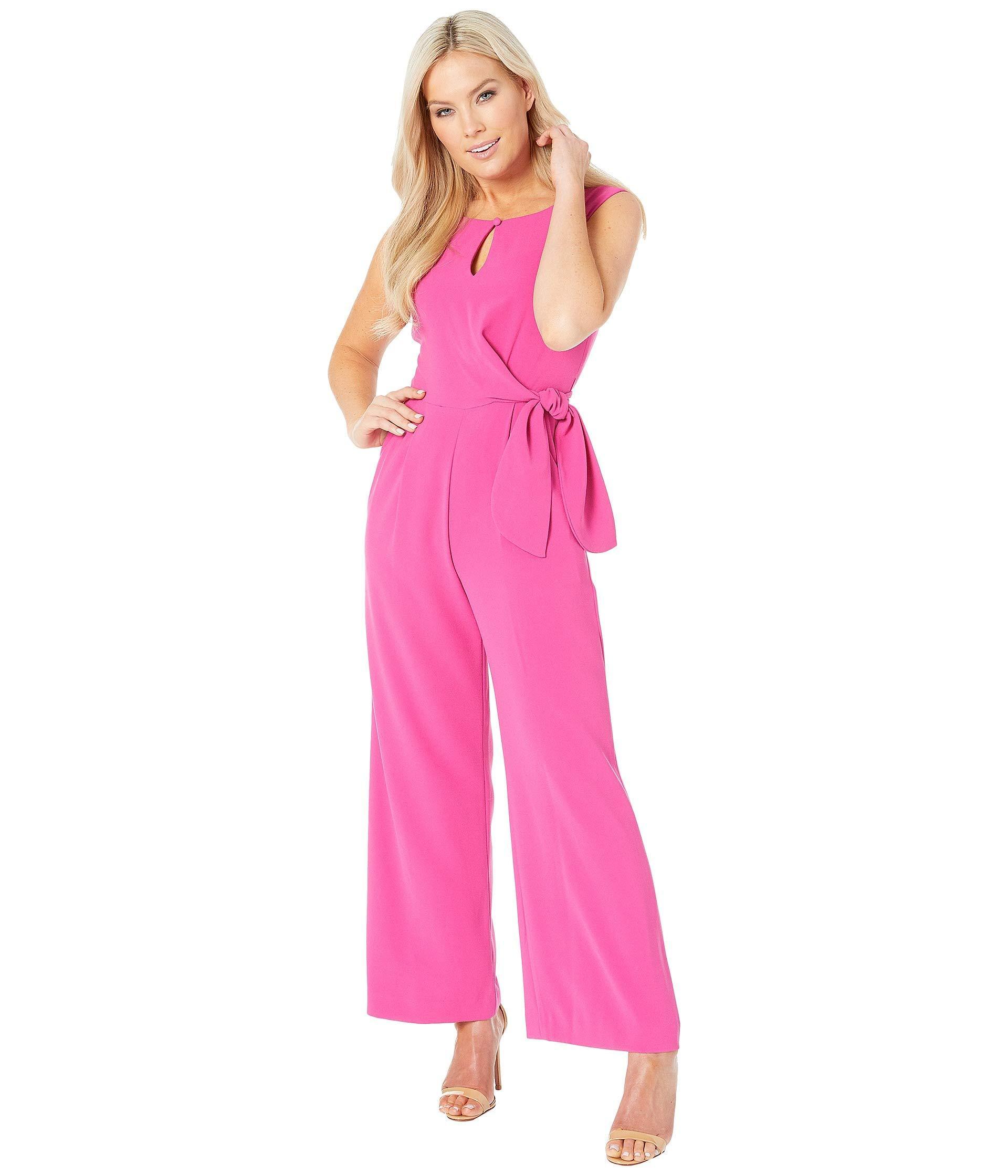 58663ee85e97 Tahari. Pink Petite Tie Waist Crepe Jumpsuit (berry) Women s Jumpsuit   Rompers  One Piece