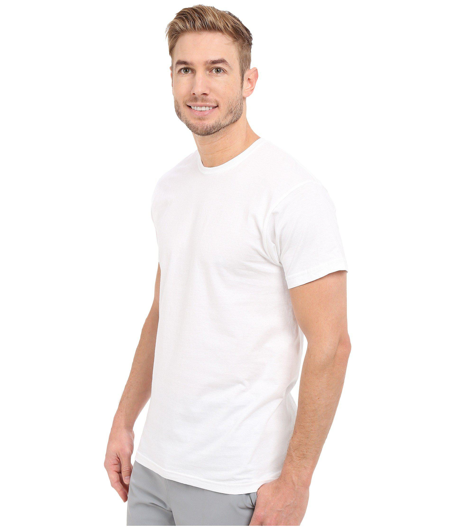 Hanes 2135 FreshIQ Soft White Cotton Crew Neck Undershirt T-Shirt Large 3pk