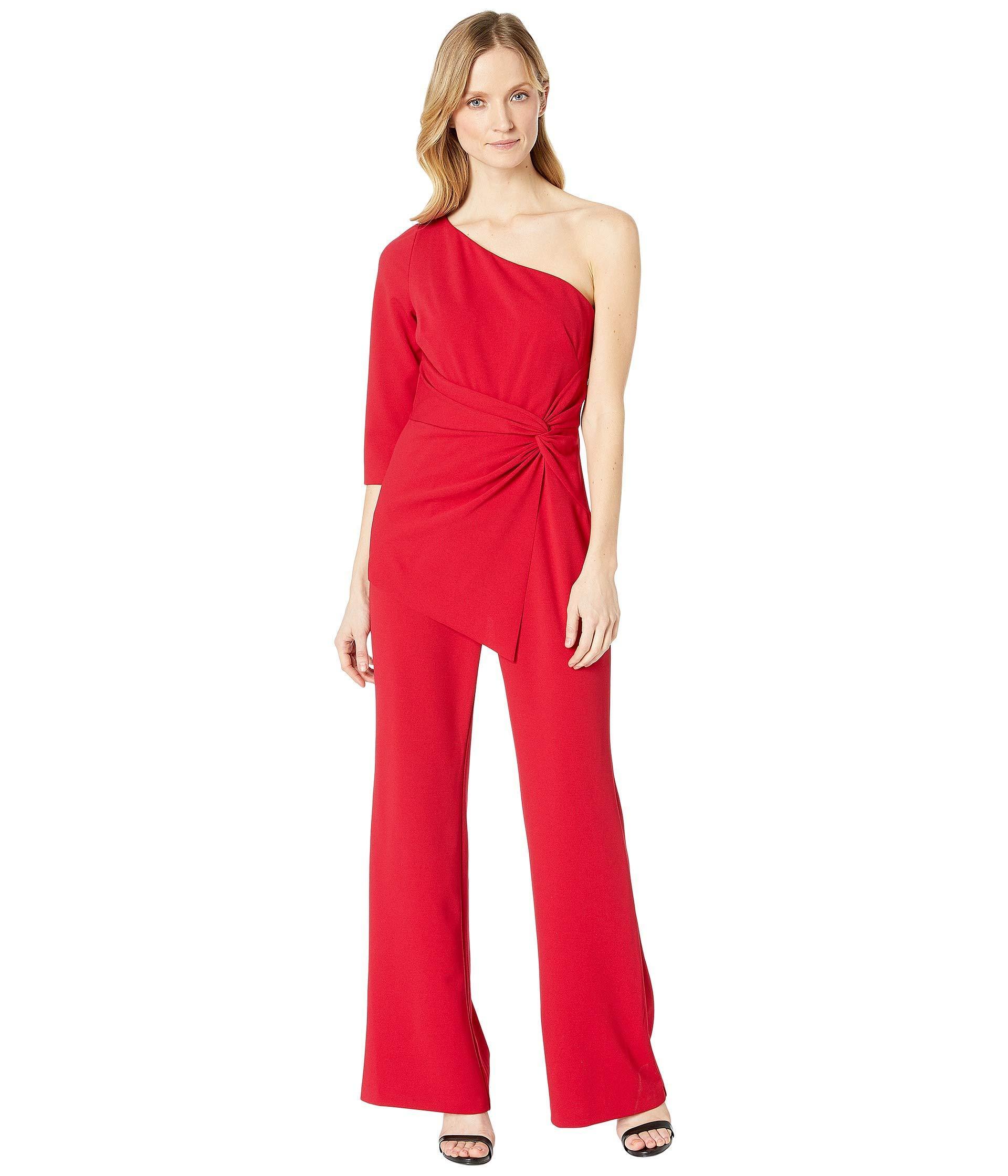 3cc3750b8d4e Lyst - Adrianna Papell One Shoulder Jumpsuit (dark Cherry) Women s ...