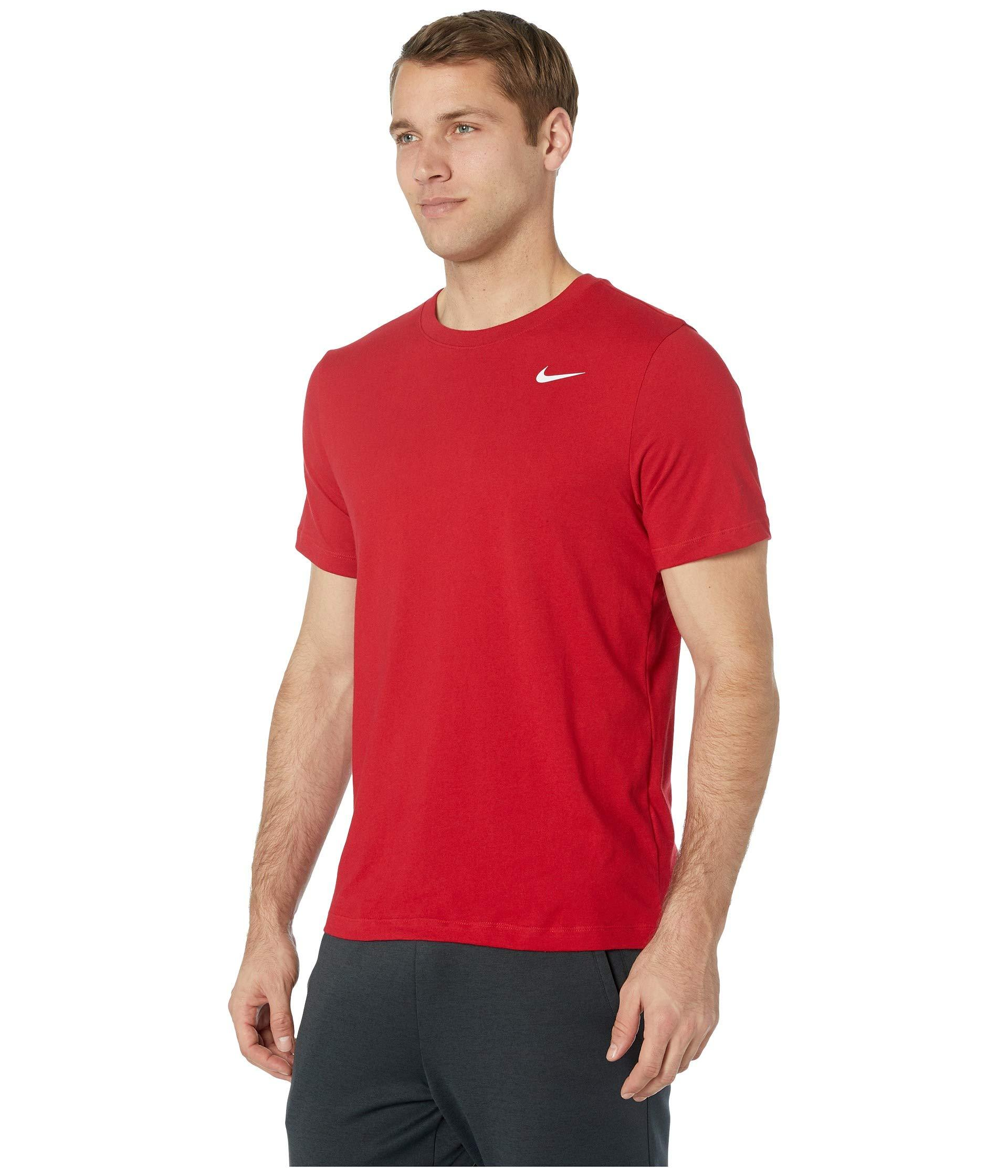 e9bf79895924 Lyst - Nike Dry Tee Dri-fittm Cotton Crew Solid (black white) Men s T Shirt  in Red for Men