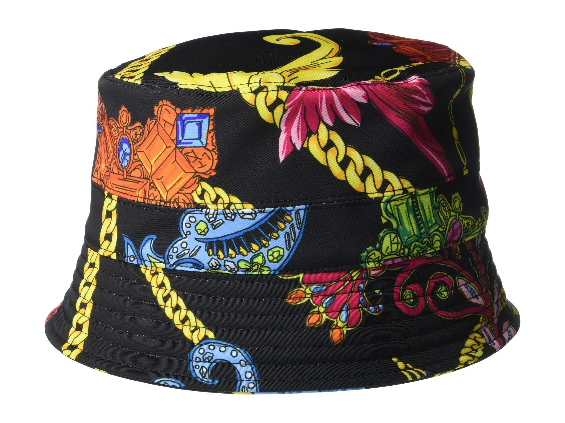 44f8b076810d9 Lyst - Versace Flower Chain Bucket Hat (black print) Caps in Black ...