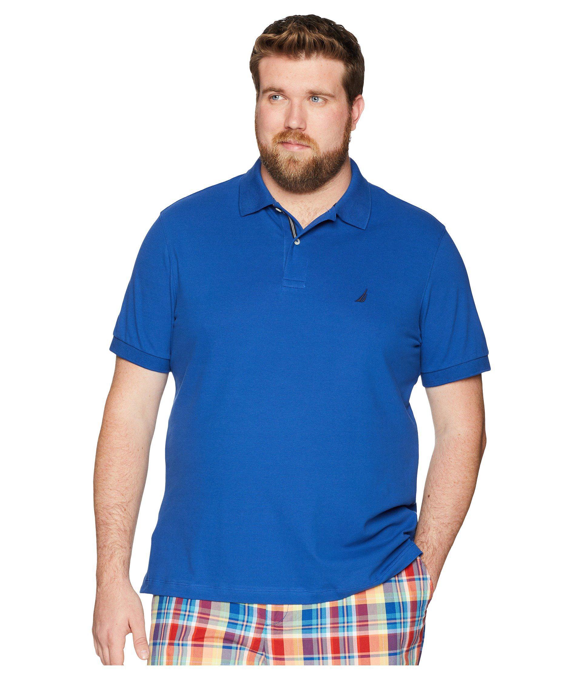 11296346101 Nautica. Blue Big Tall Short Sleeve Solid Deck Shirt (cobalt Wave) Men s  Clothing