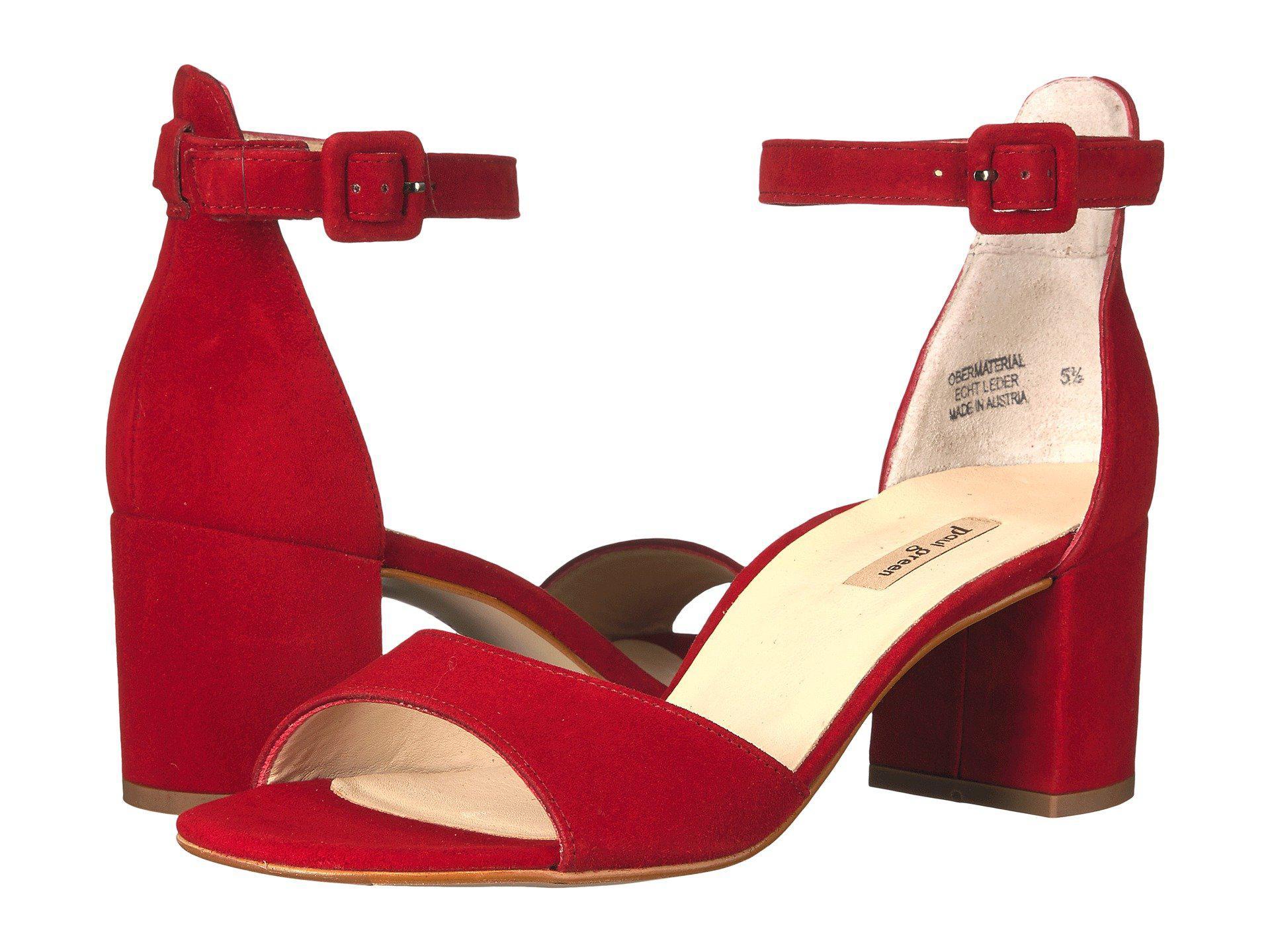 42c2e3b5f2667 Lyst - Paul Green Lonnnie Block Heel Sandals in Red