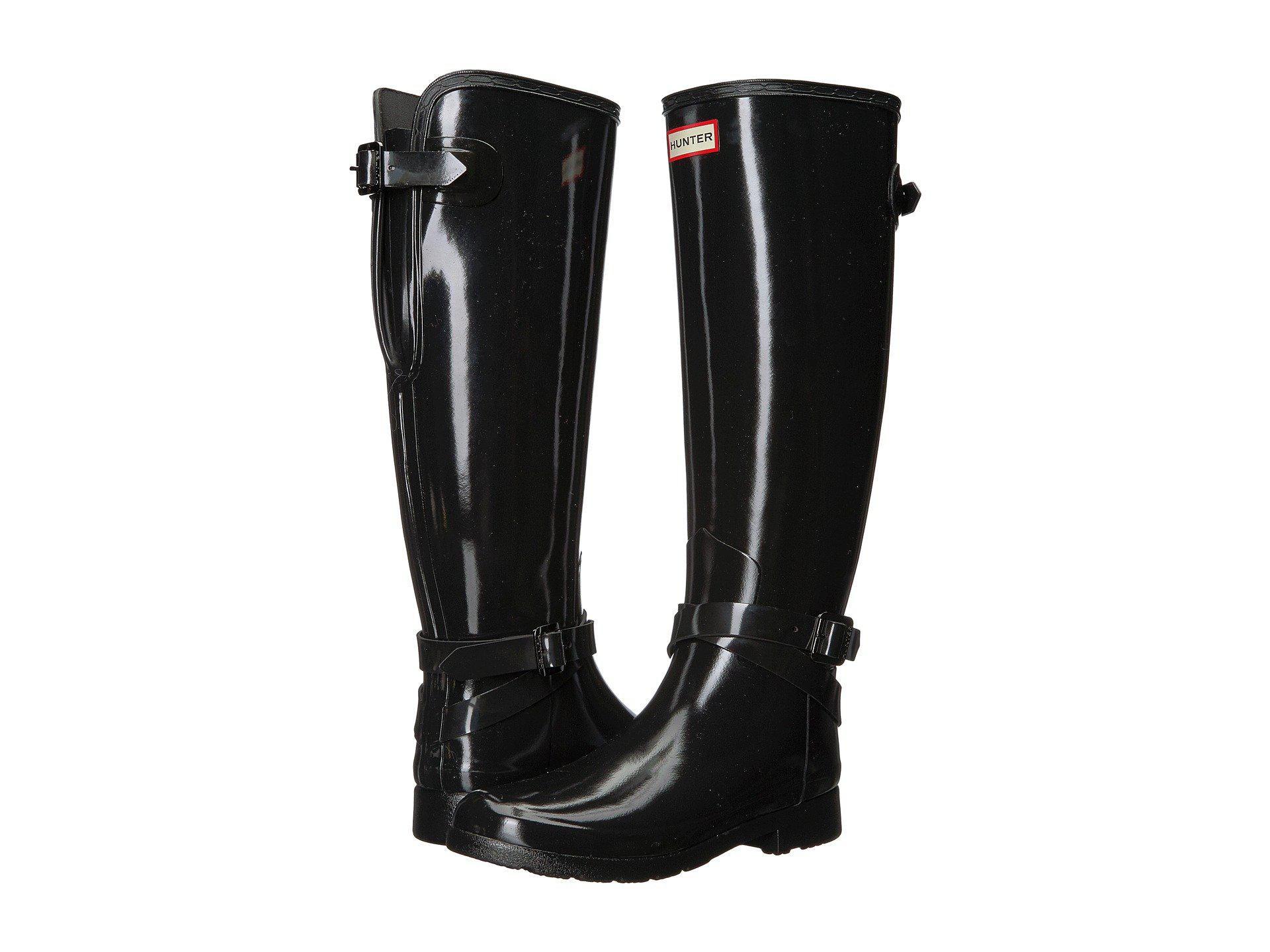 Hunter REFINED ADJUSTABLE TALL ANKLE STRAP GLOSS - Wellies - black aa4hT