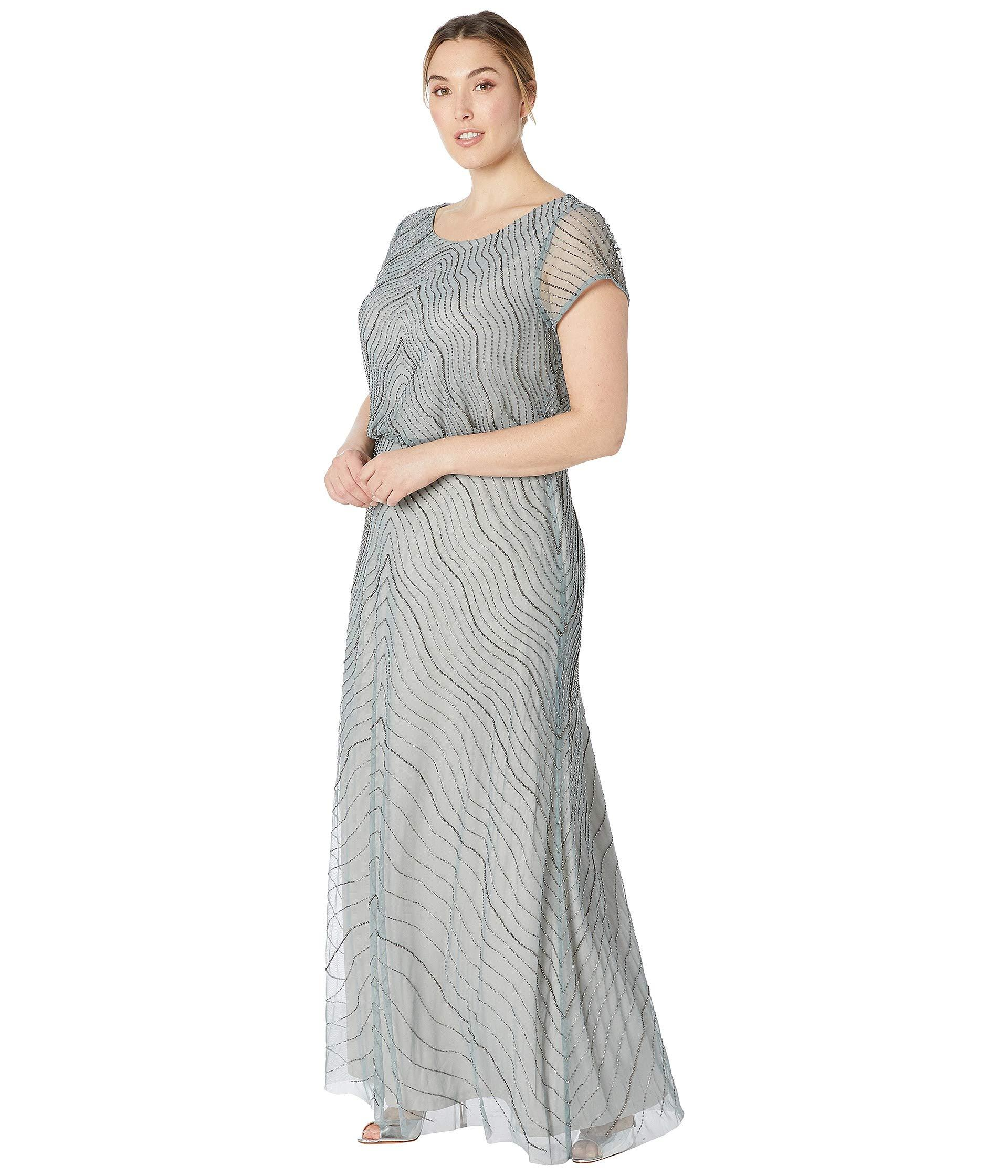 2a5637cd829 Adrianna Papell Plus Size Beaded Blouson Cap Sleeve Evening Gown (slate)  Women s Dress in Gray - Lyst