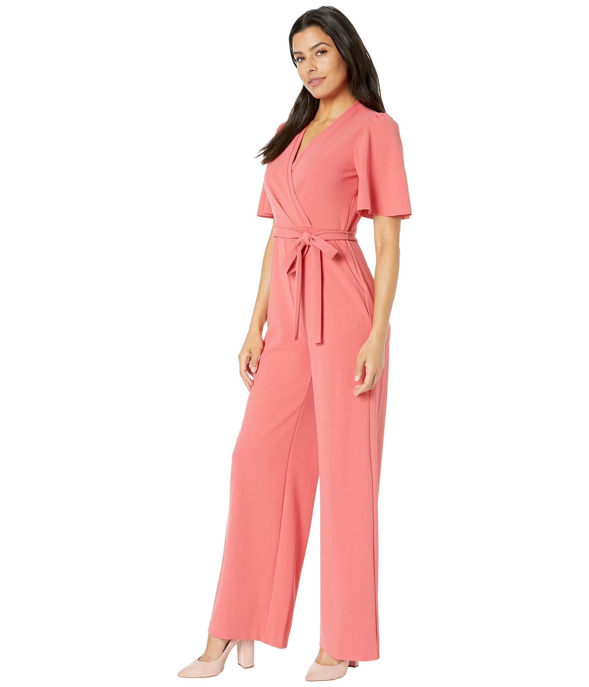 8e6545557 Donna Morgan Short Flutter Sleeve Wrap Front Crepe Jumpsuit (black) Women's  Jumpsuit & Rompers One Piece in Pink - Lyst